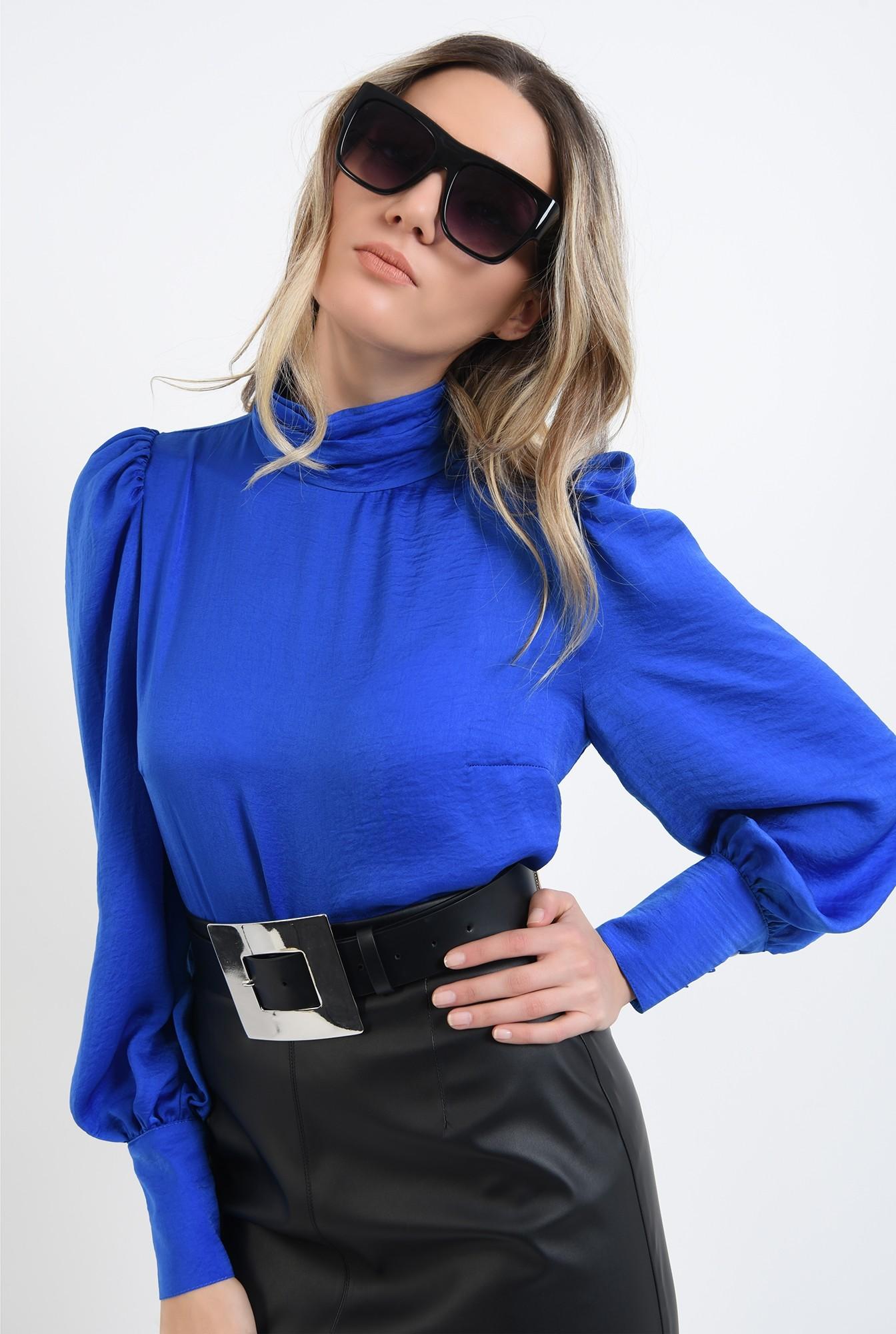 2 - 360 - bluza cu pliuri la gat, albastra, cu nasturi la manseta