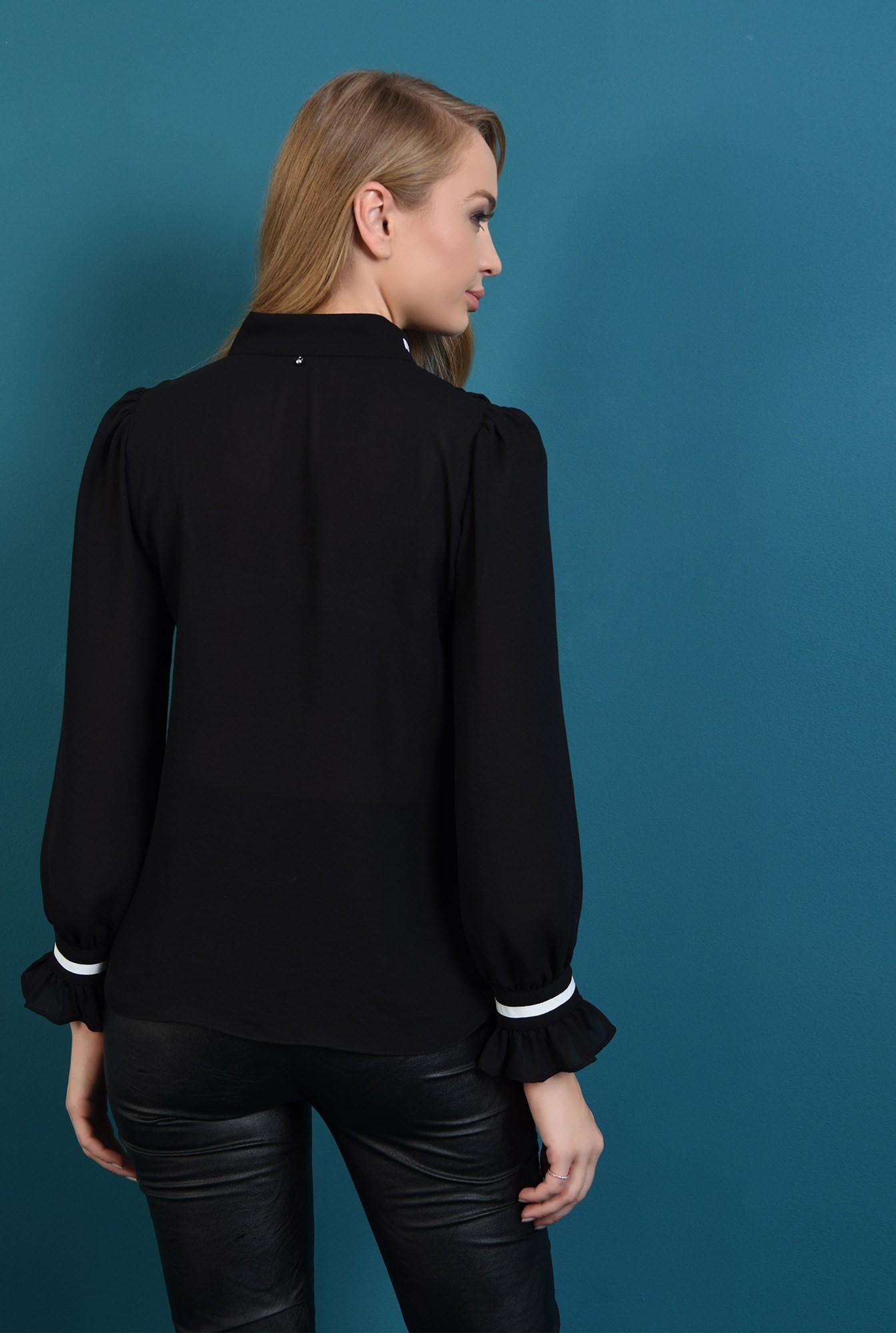 1 - bluza casual, neagra, cu guler, cu volan la maneca