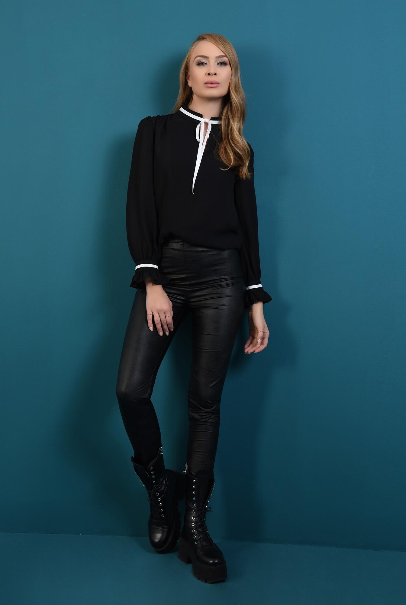 0 - bluza casual, neagra, cu guler, cu volan la maneca