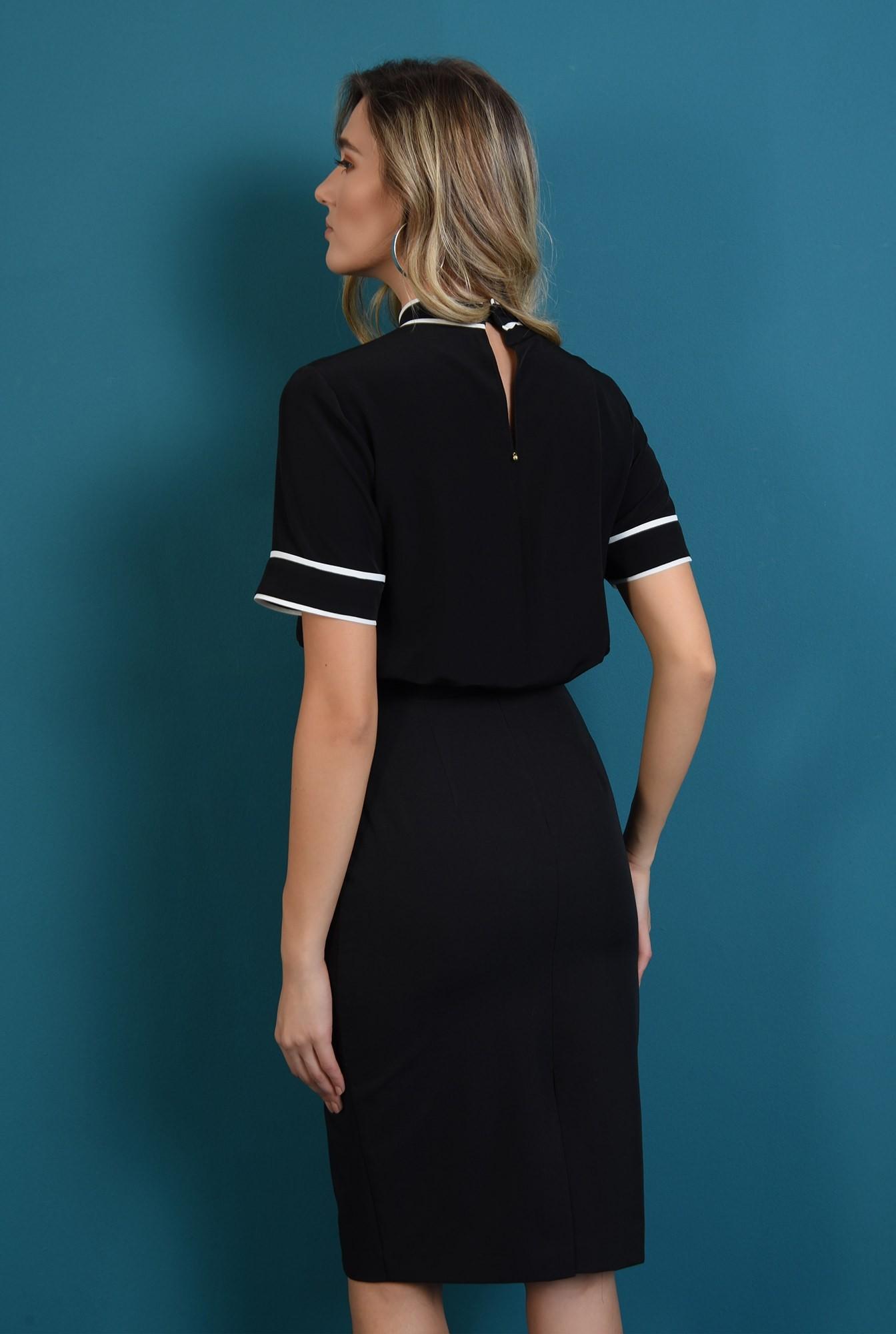 1 - bluza casual, neagra, cu esarfa la baza gatului