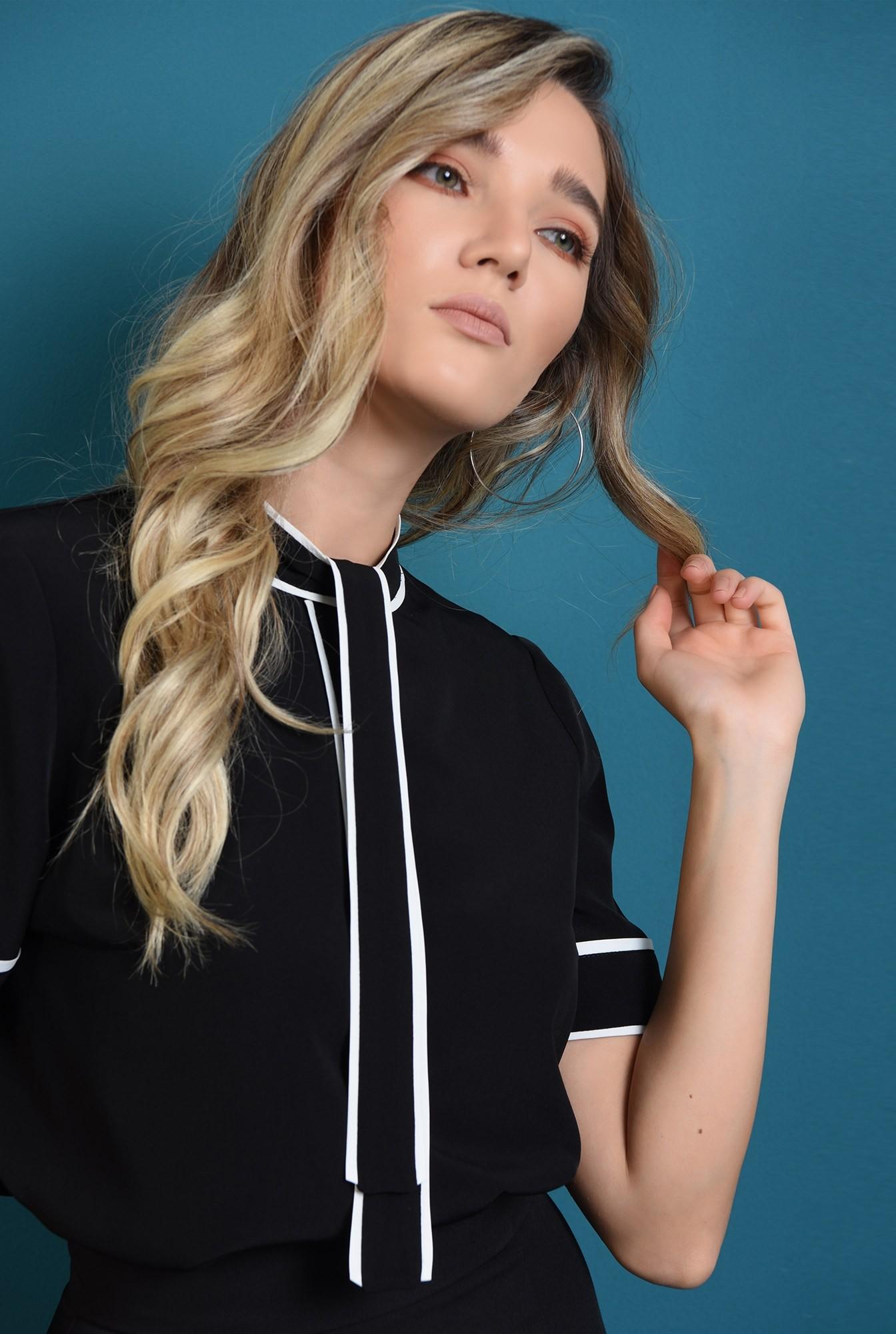 2 - bluza casual, neagra, cu esarfa la baza gatului