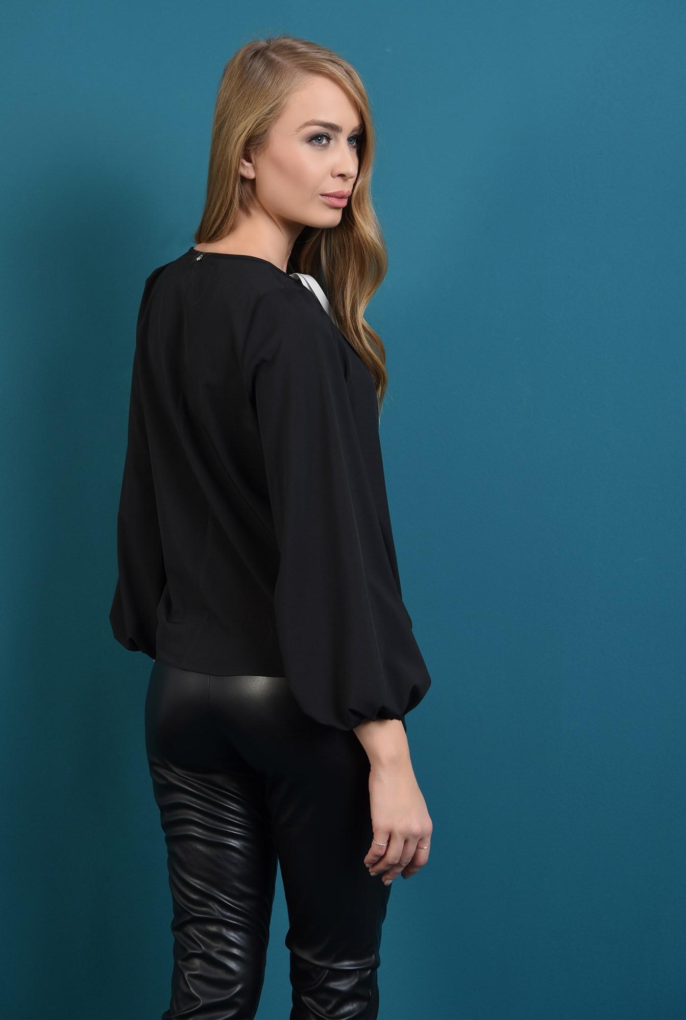 1 - bluza casual, neagra, cu funda alba, Poema