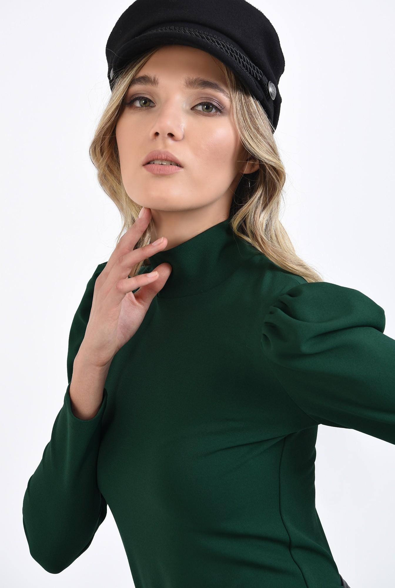 2 - bluza casual, verde, cu guler, Poema