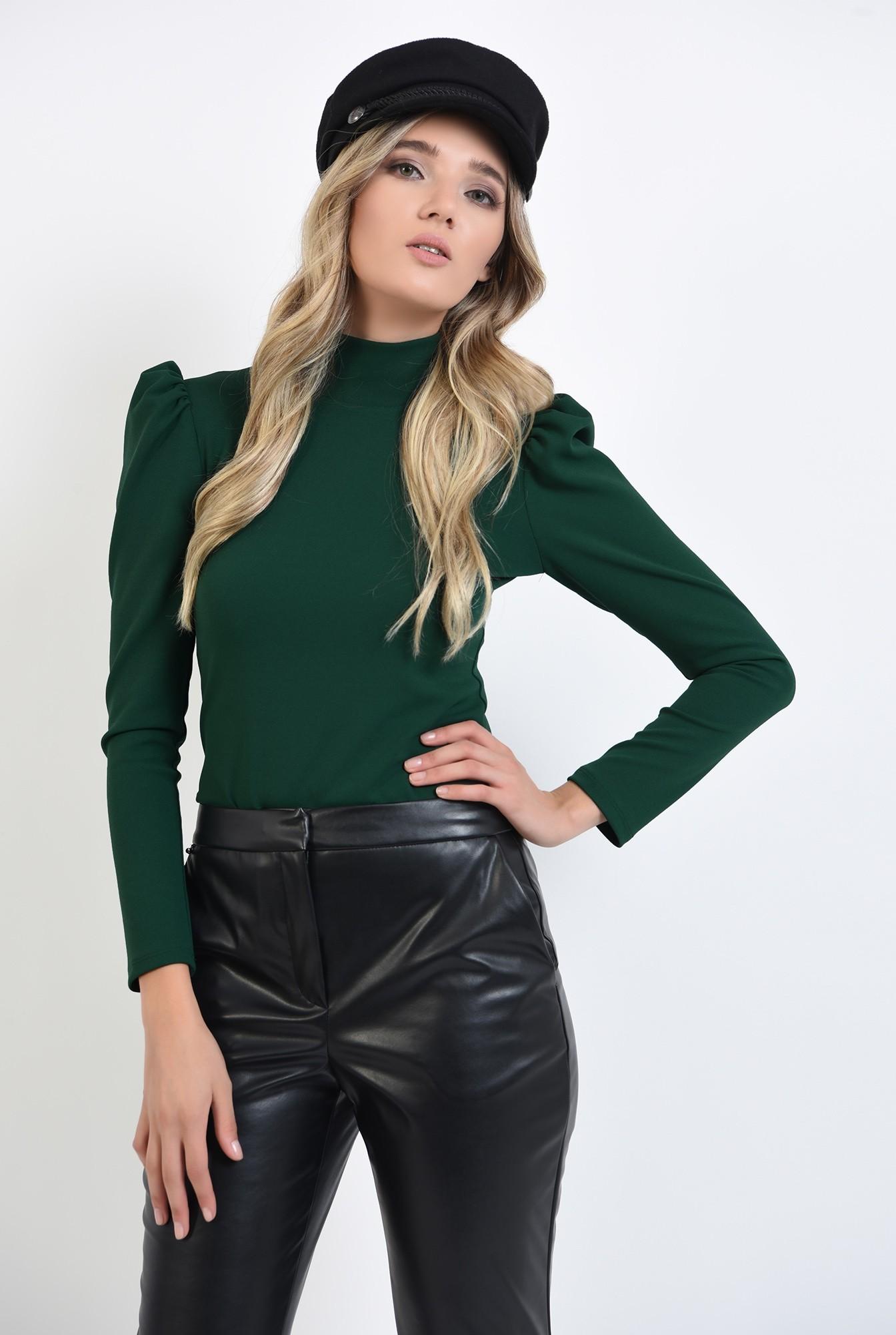 0 - bluza casual, verde, cu guler, Poema