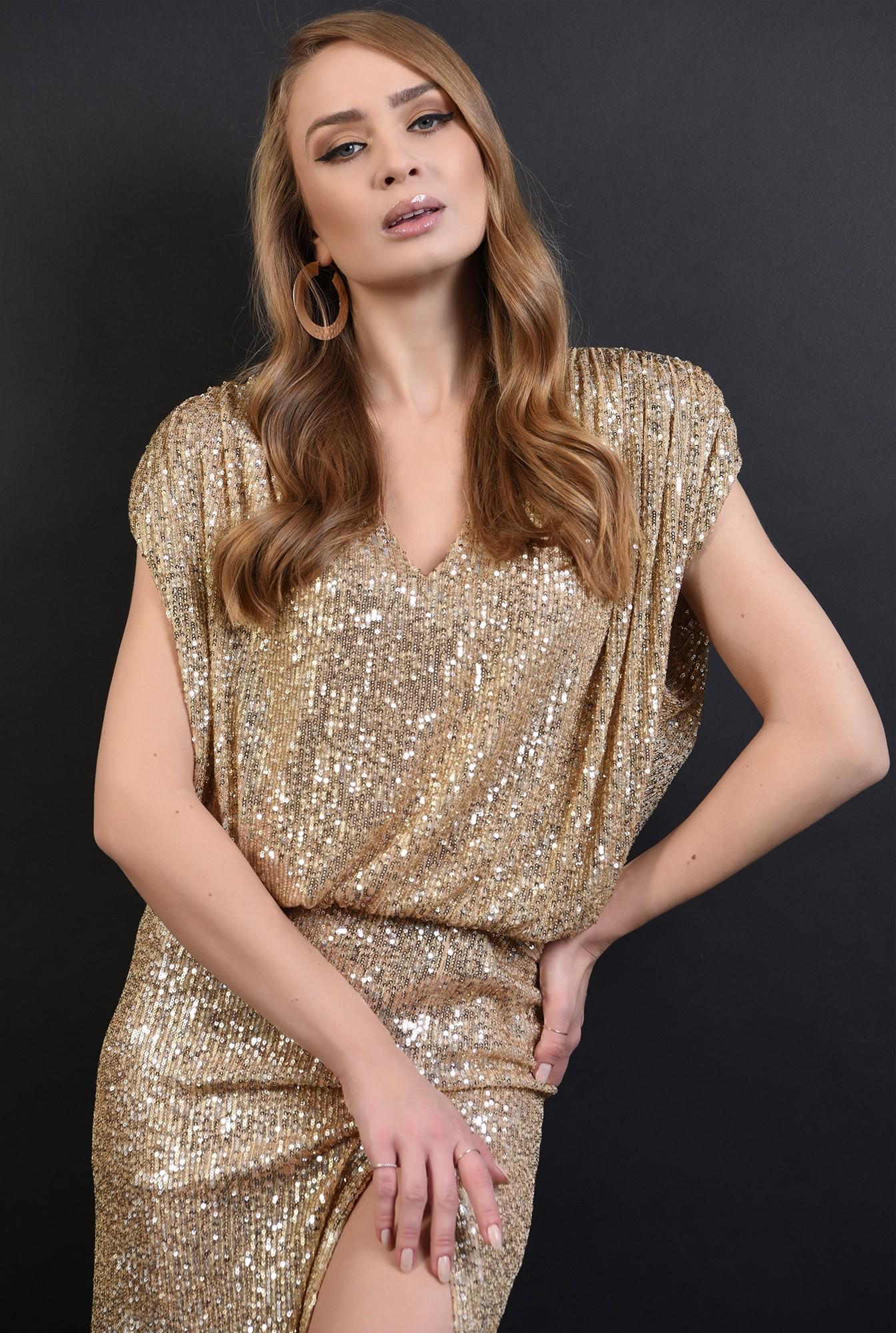2 - 360 - bluza aurie, eleganta, cu paiete