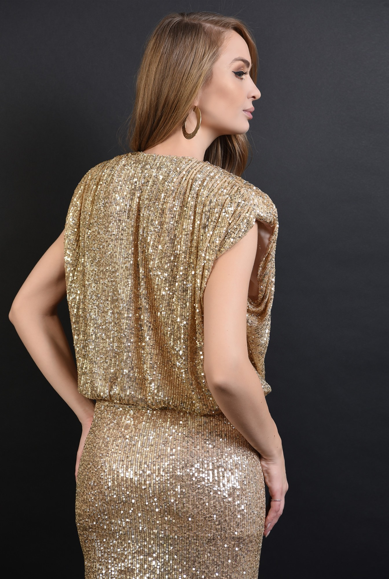 1 - 360 - bluza aurie, eleganta, cu paiete