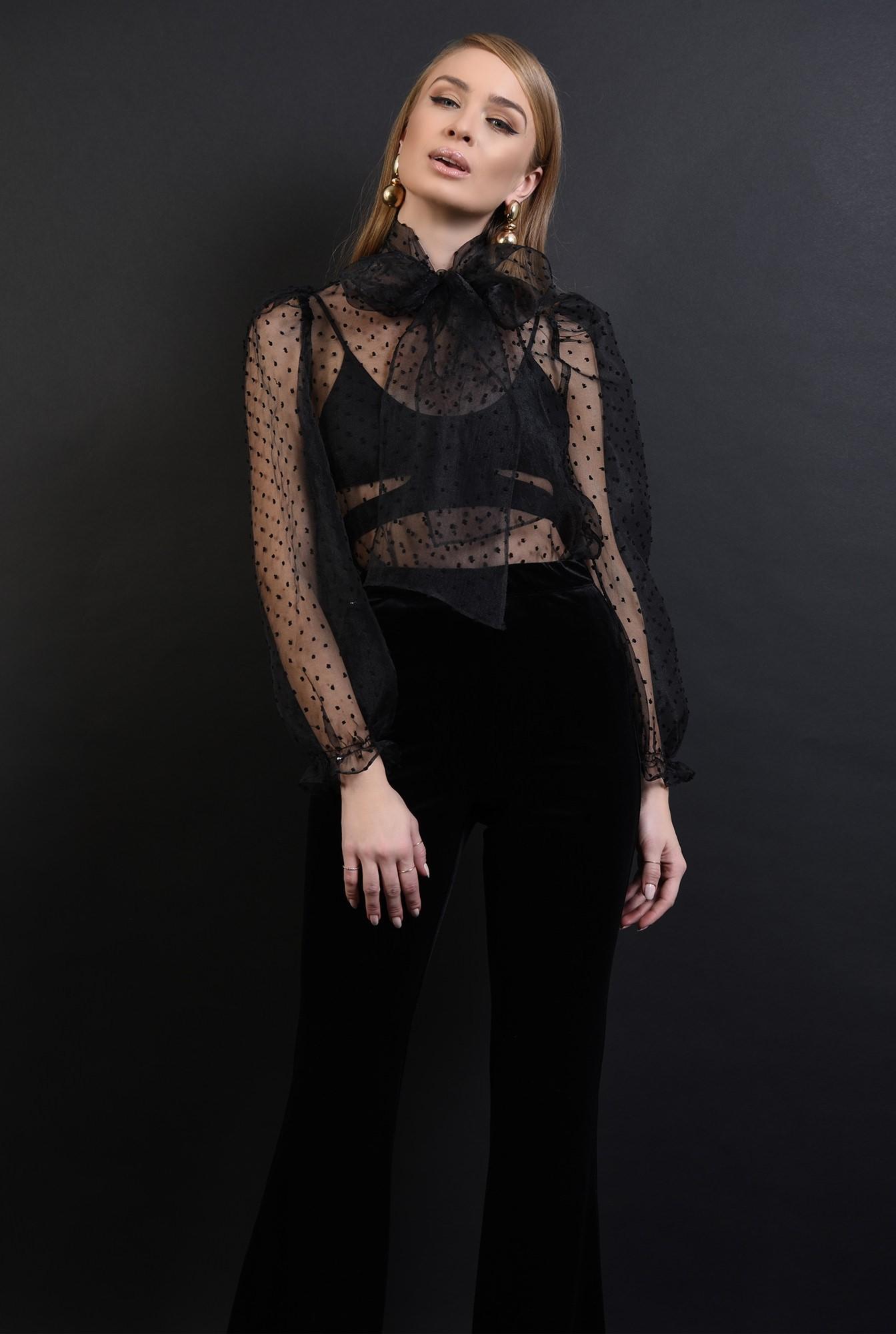 1 - 360 - bluza neagra, din organza, cu funda la baza gatului