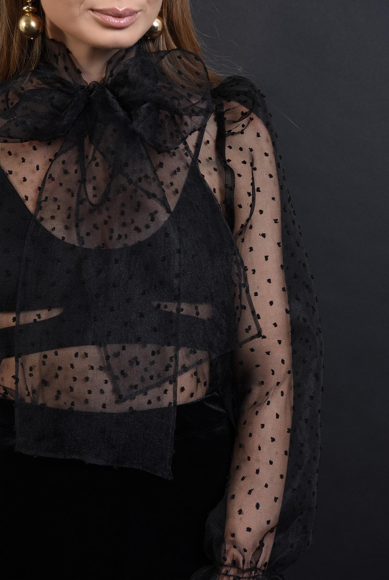3 - 360 - bluza neagra, din organza, cu funda la baza gatului