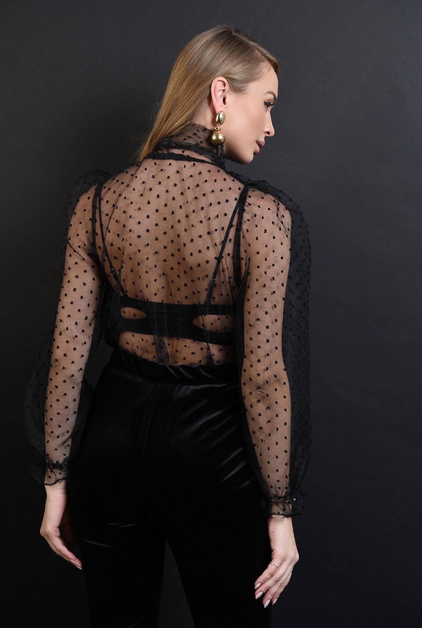 2 - 360 - bluza neagra, din organza, cu funda la baza gatului
