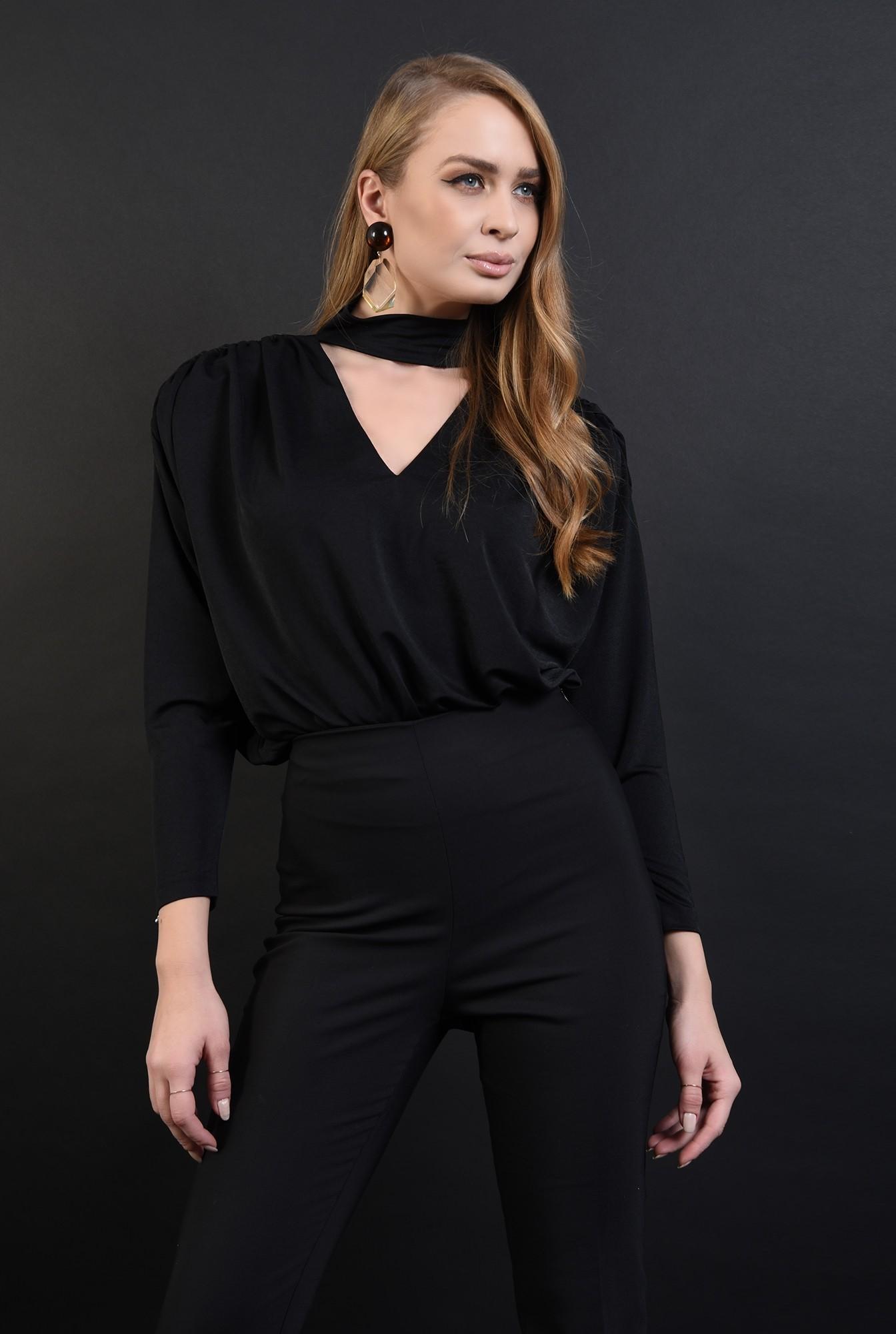 1 - bluza eleganta, neagra, cu fronseuri, Poema