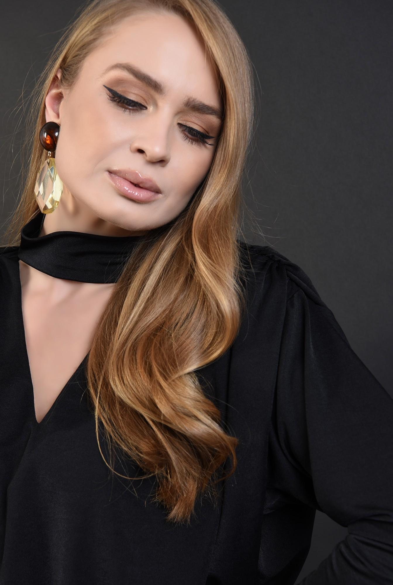 3 - bluza eleganta, neagra, cu fronseuri, Poema
