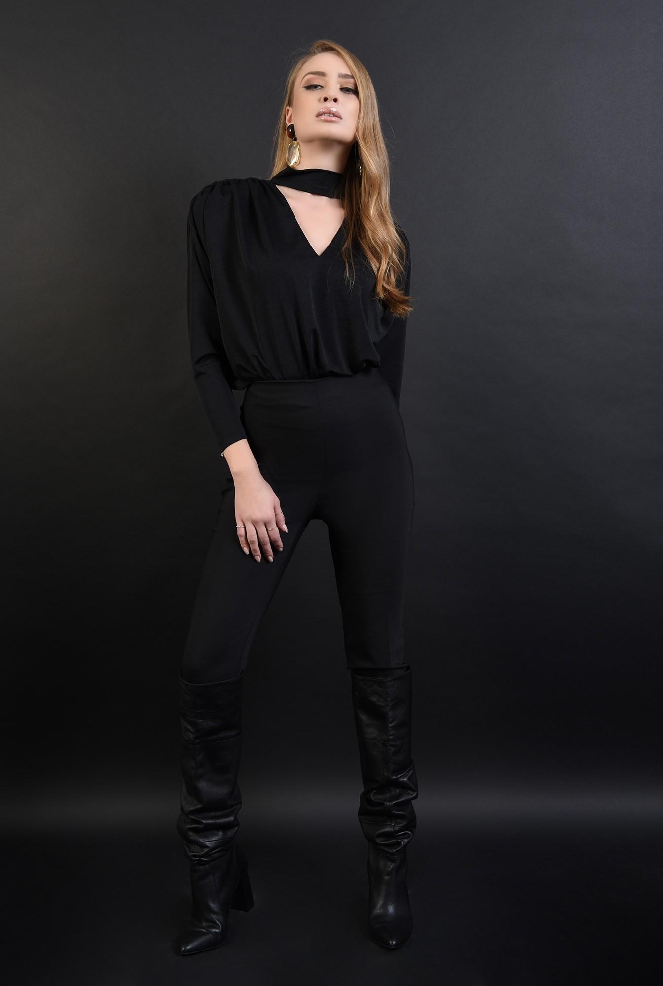 0 - bluza eleganta, neagra, cu fronseuri, Poema