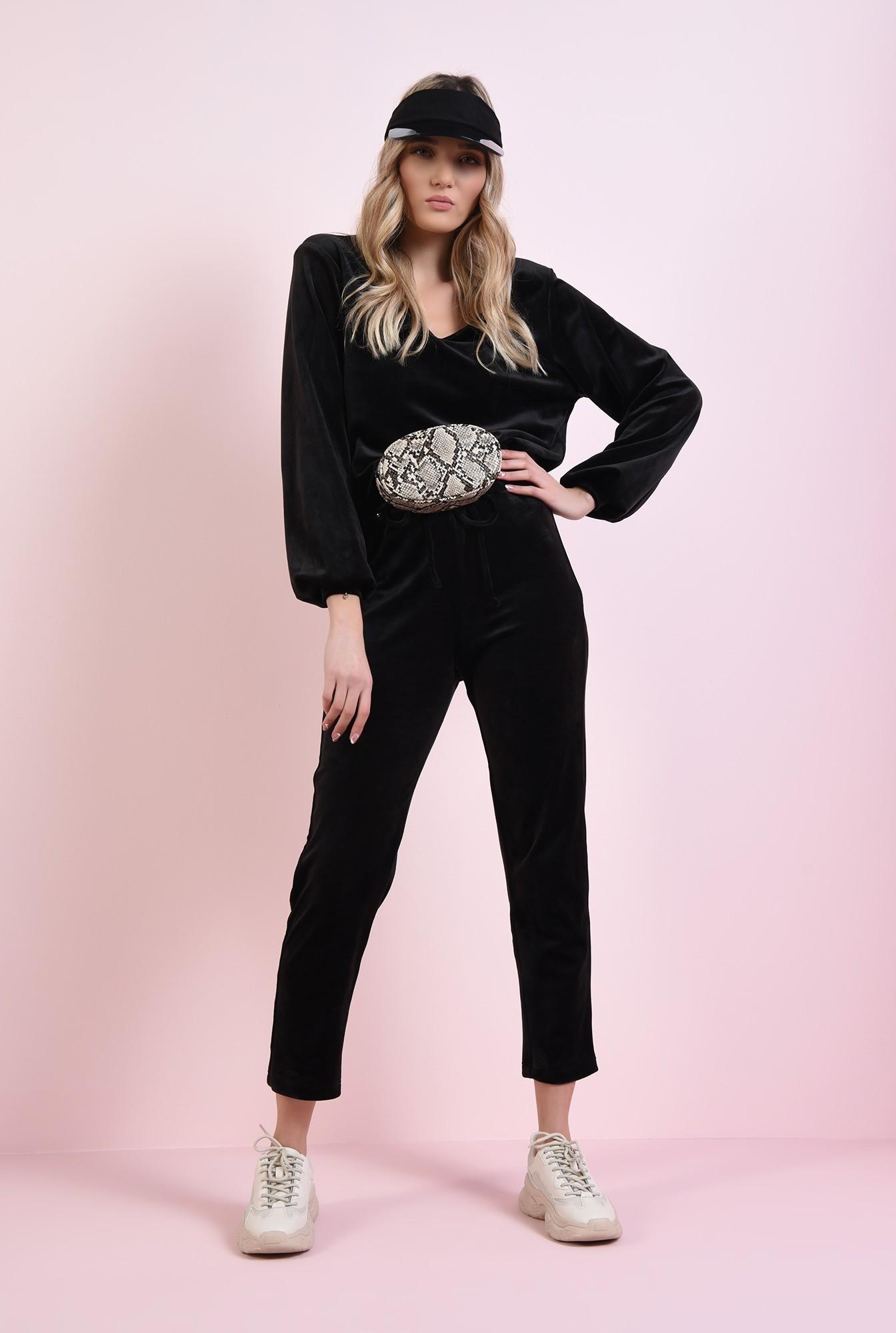 1 - bluza casual, din catifea, neagra, cu anchior