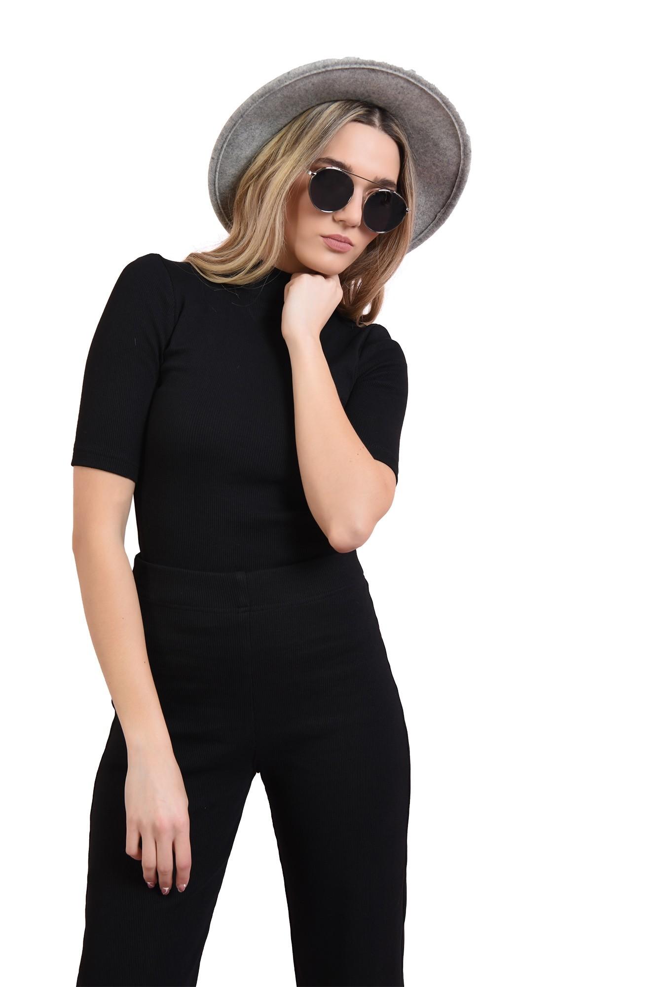 3 - bluza casual, neagra, cu guler, Poema
