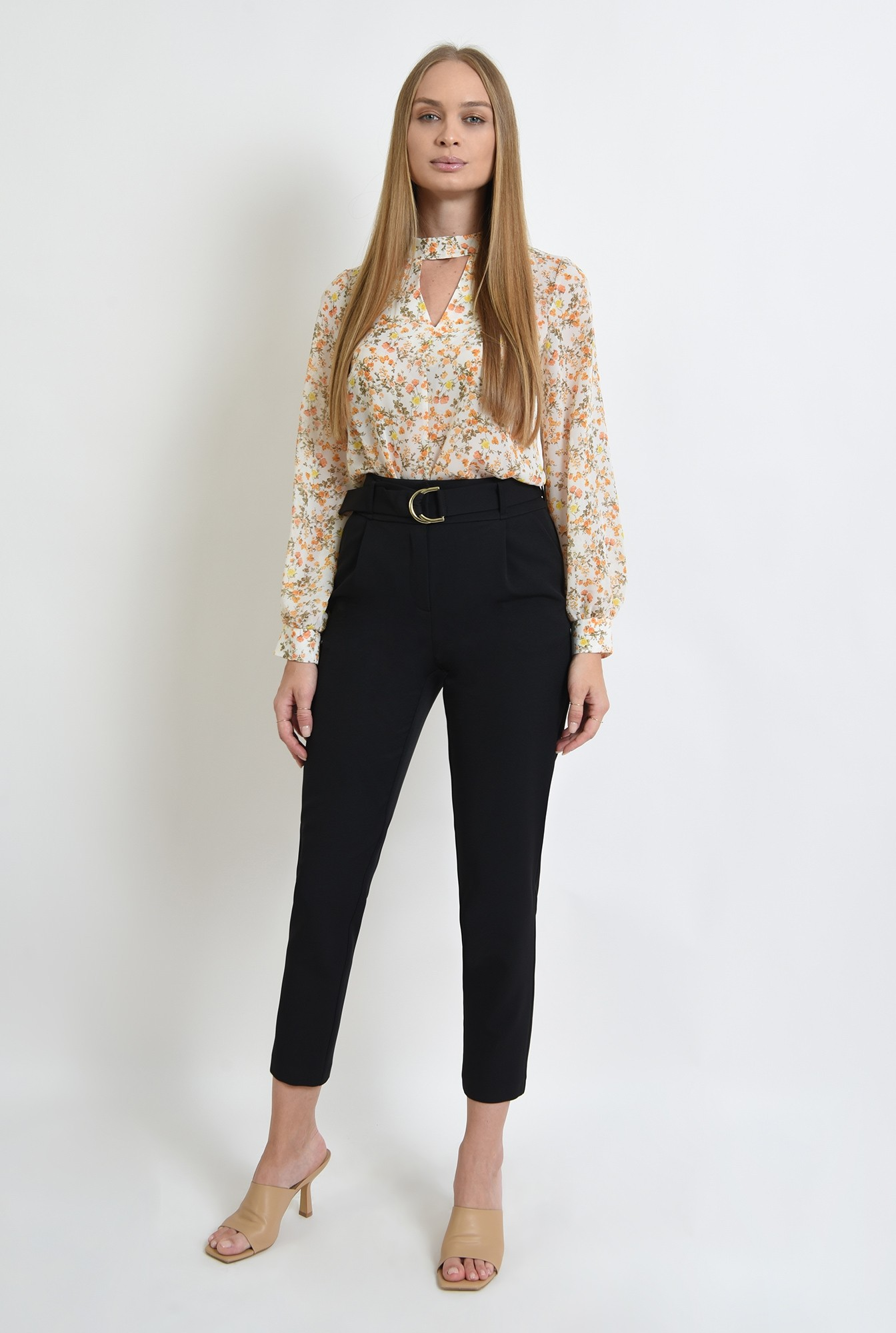 1 - bluza de zi, cu motive florale, cu maneca lunga
