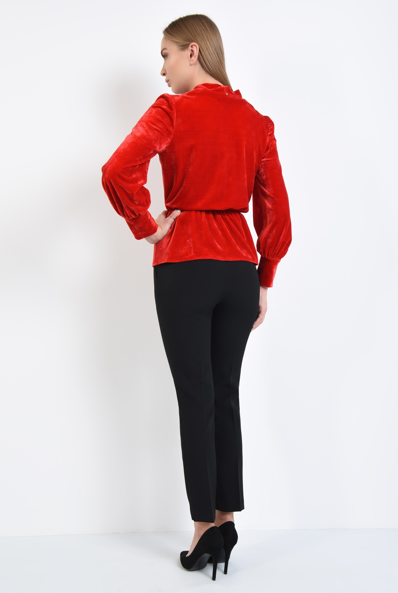 1 - bluza din catifea, rosie, eleganta, bluza dama, online
