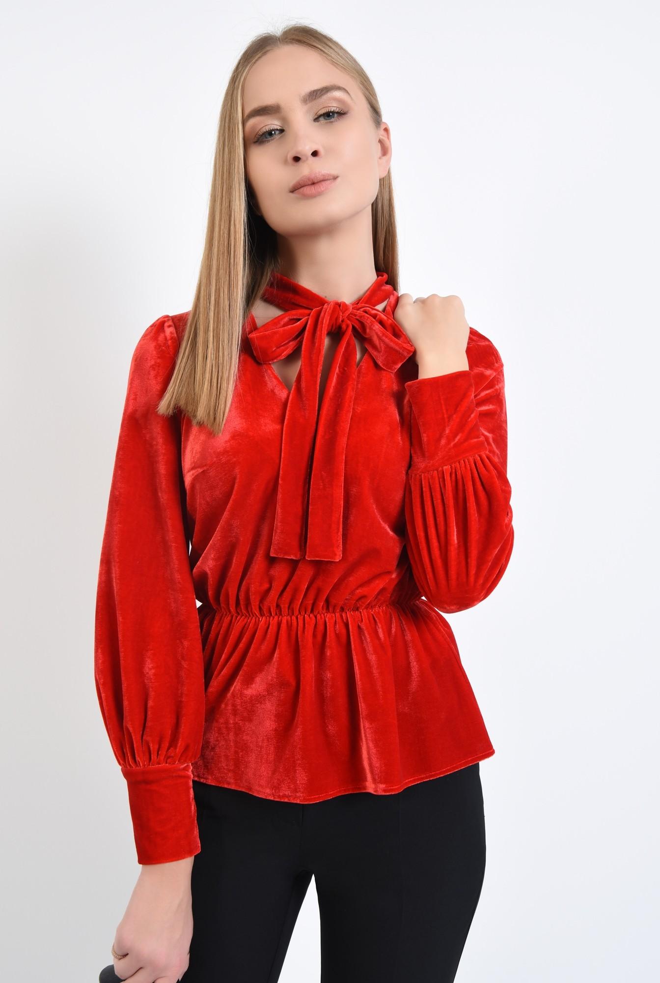 2 - bluza din catifea, rosie, eleganta, bluza dama, online