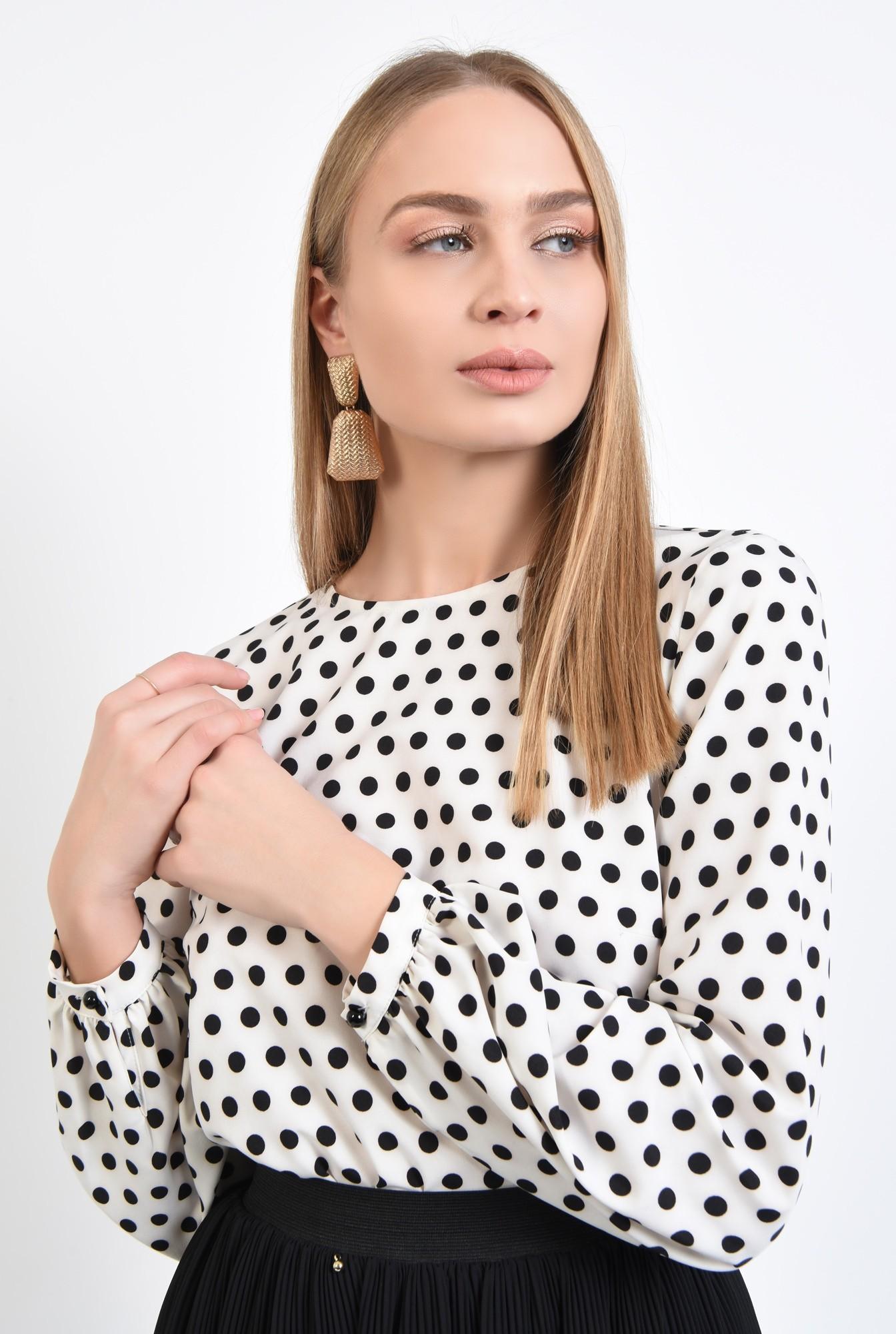 2 - 360 - bluza alba cu picouri negre, maneci lungi cu manseta, rips