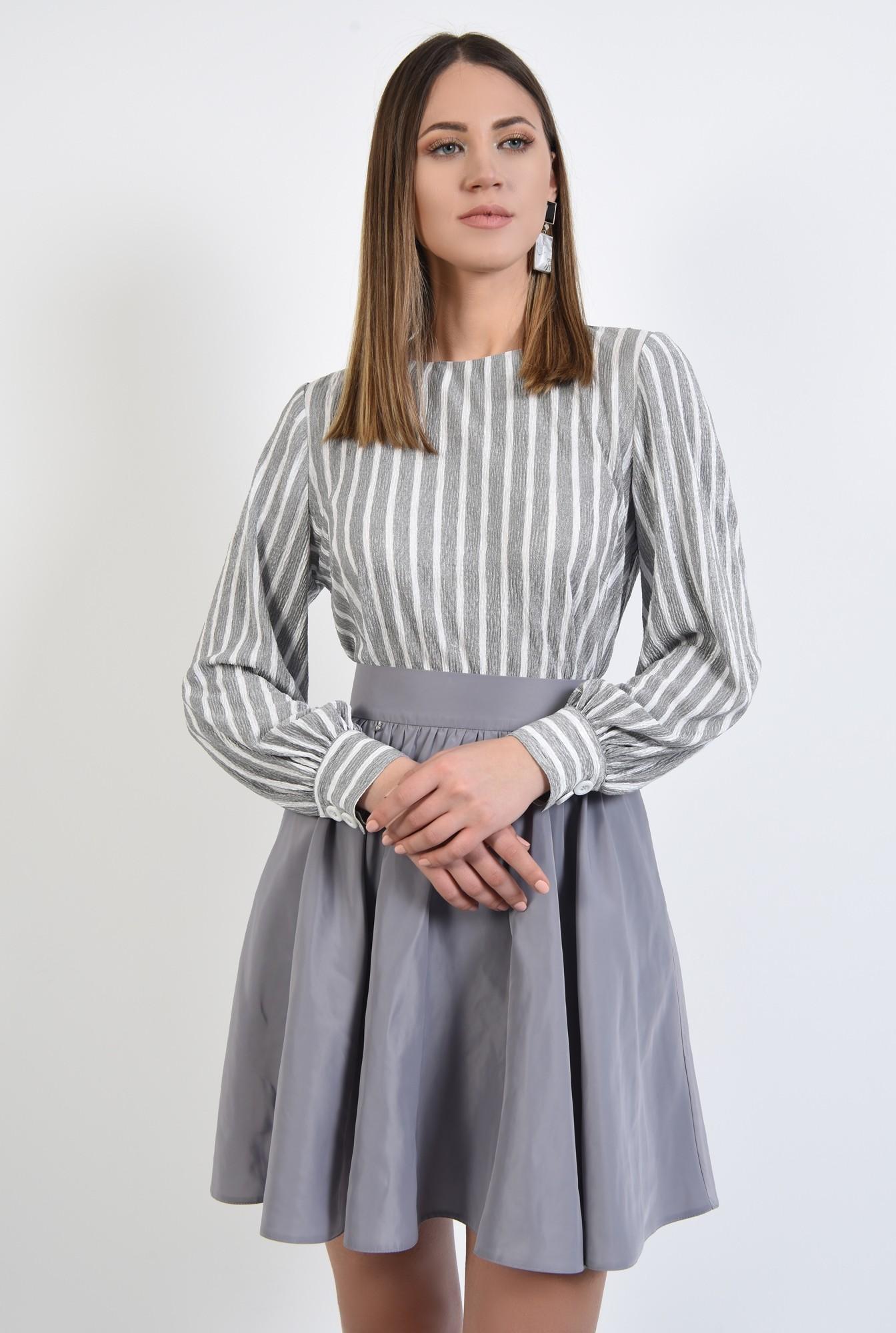 0 - 360 - bluza casual, dreapta, cu imprimeu, dungi alb-gri