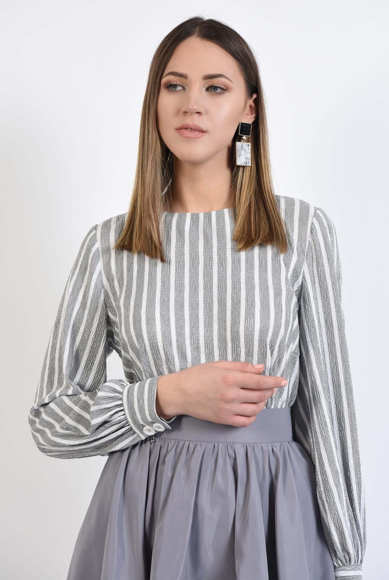 2 - 360 - bluza casual, dreapta, cu imprimeu, dungi alb-gri