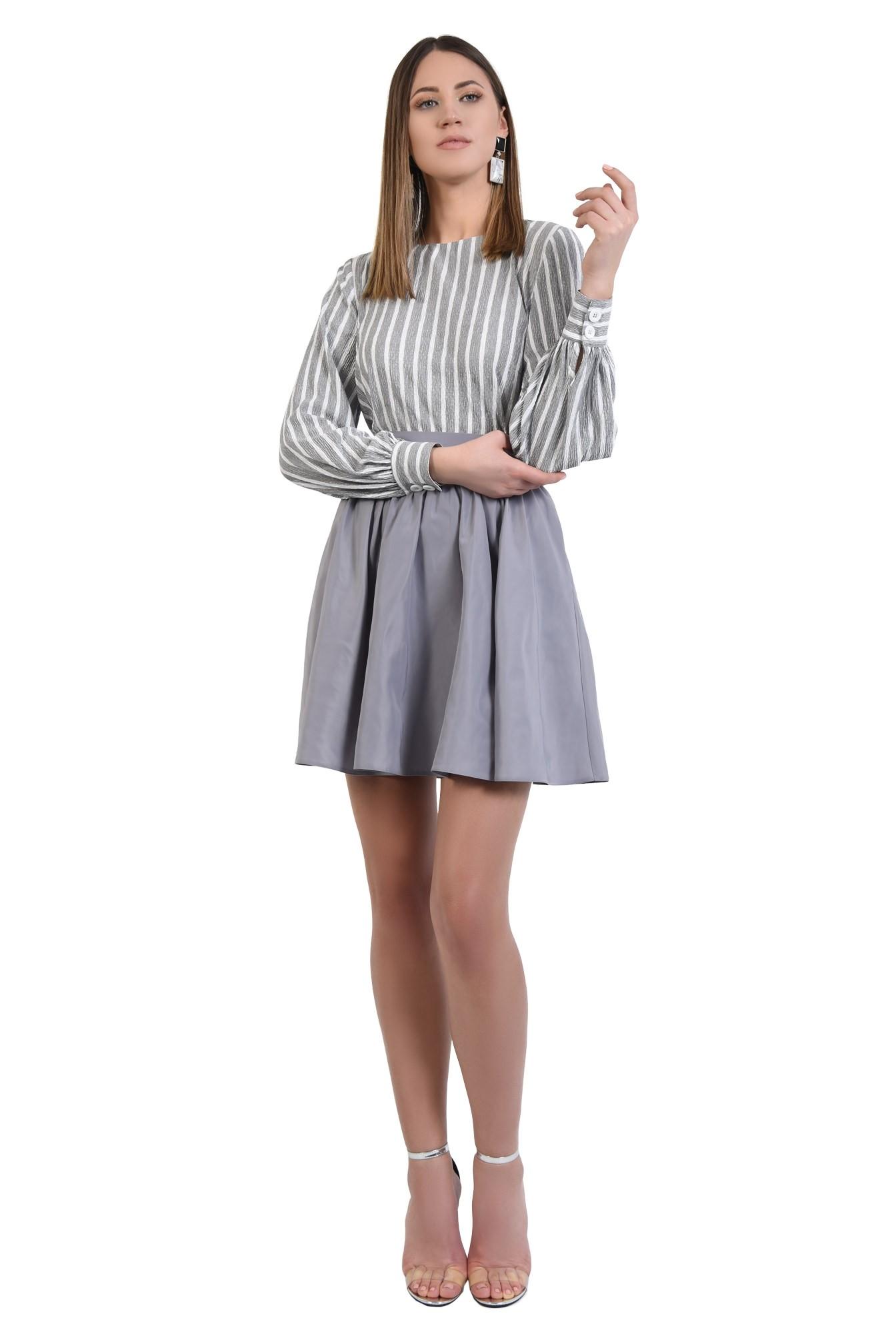 3 - 360 - bluza casual, dreapta, cu imprimeu, dungi alb-gri