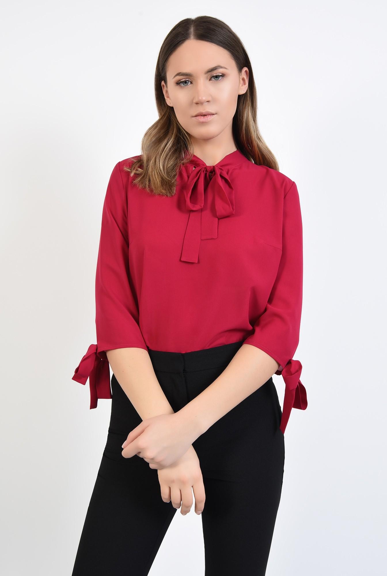 0 - 360 - bluza casual, fuxia, din sifon, maneci 3/4 cu funde, Poema