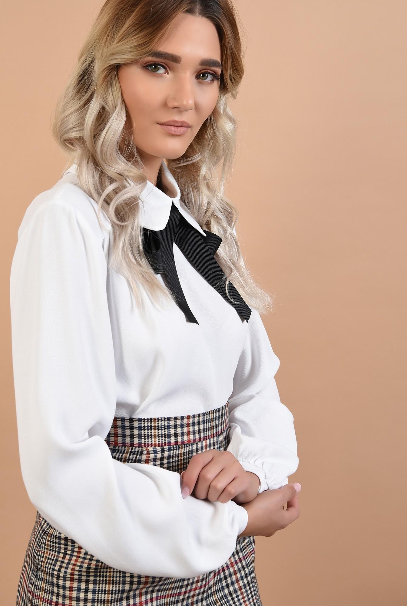 2 - bluza cu funda, Poema, alb-negru, maneci lungi bufante, office