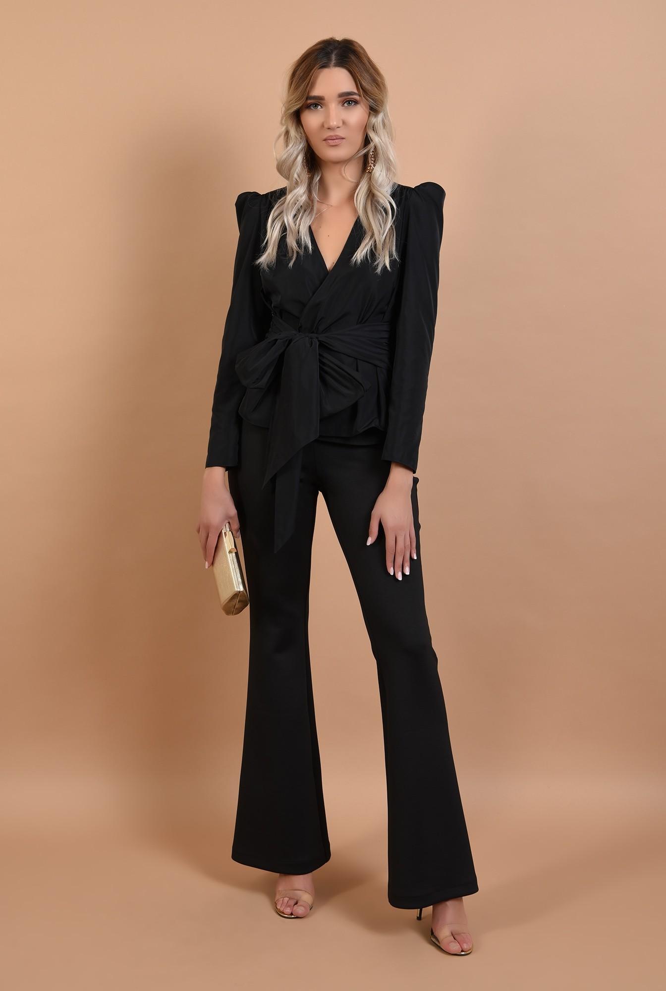 3 - bluza eleganta, neagra, cambrata, cu funda la talie, cret la umeri