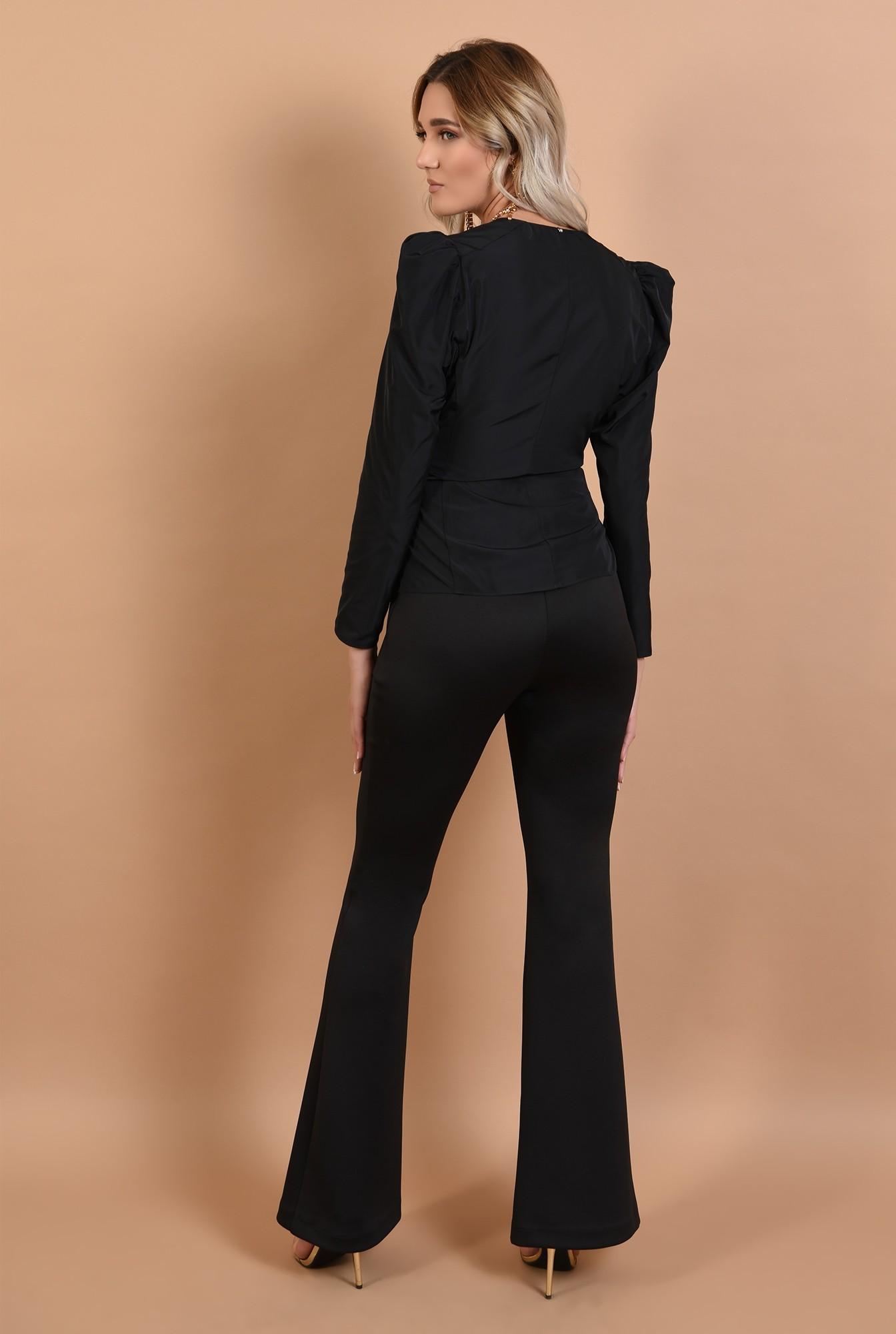 1 - bluza eleganta, neagra, cambrata, cu funda la talie, cret la umeri