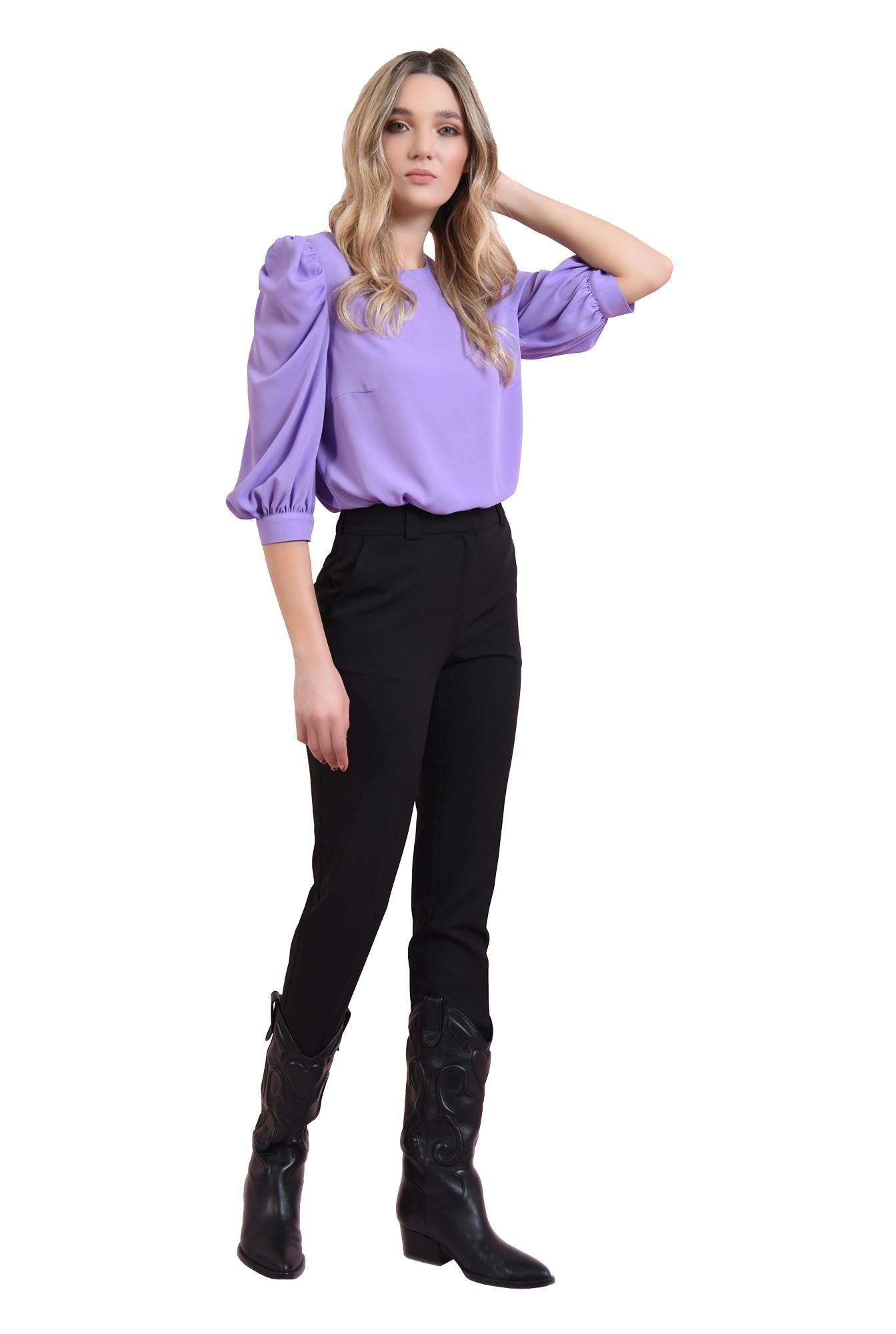 3 - bluza cu decolteu rotund, cu maneca voluminoasa