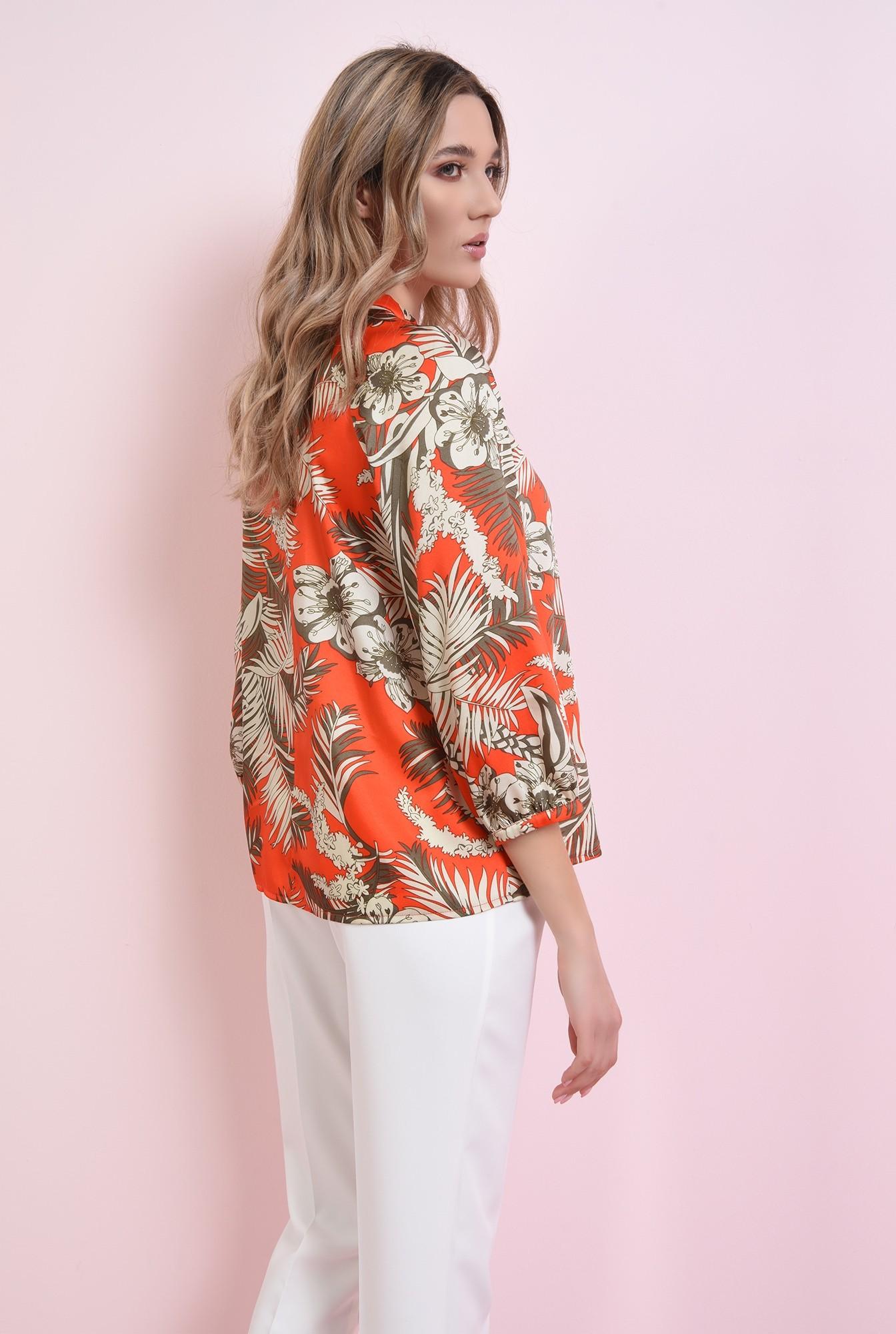 1 - 360 - bluza cu print, cu maneca voluminoasa