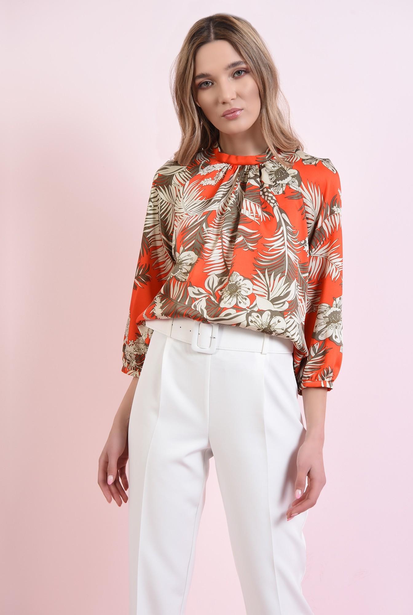 0 - 360 - bluza cu print, cu maneca voluminoasa