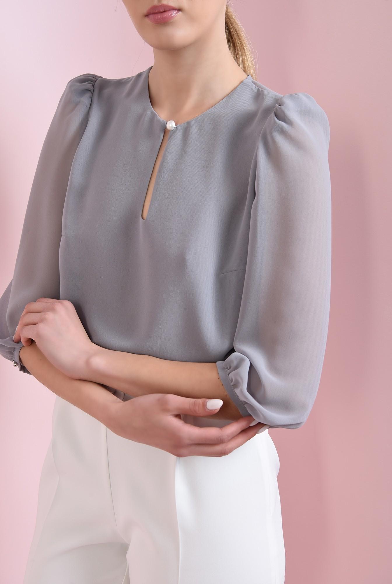 2 - 360 - bluza casual, gri, cu nasture