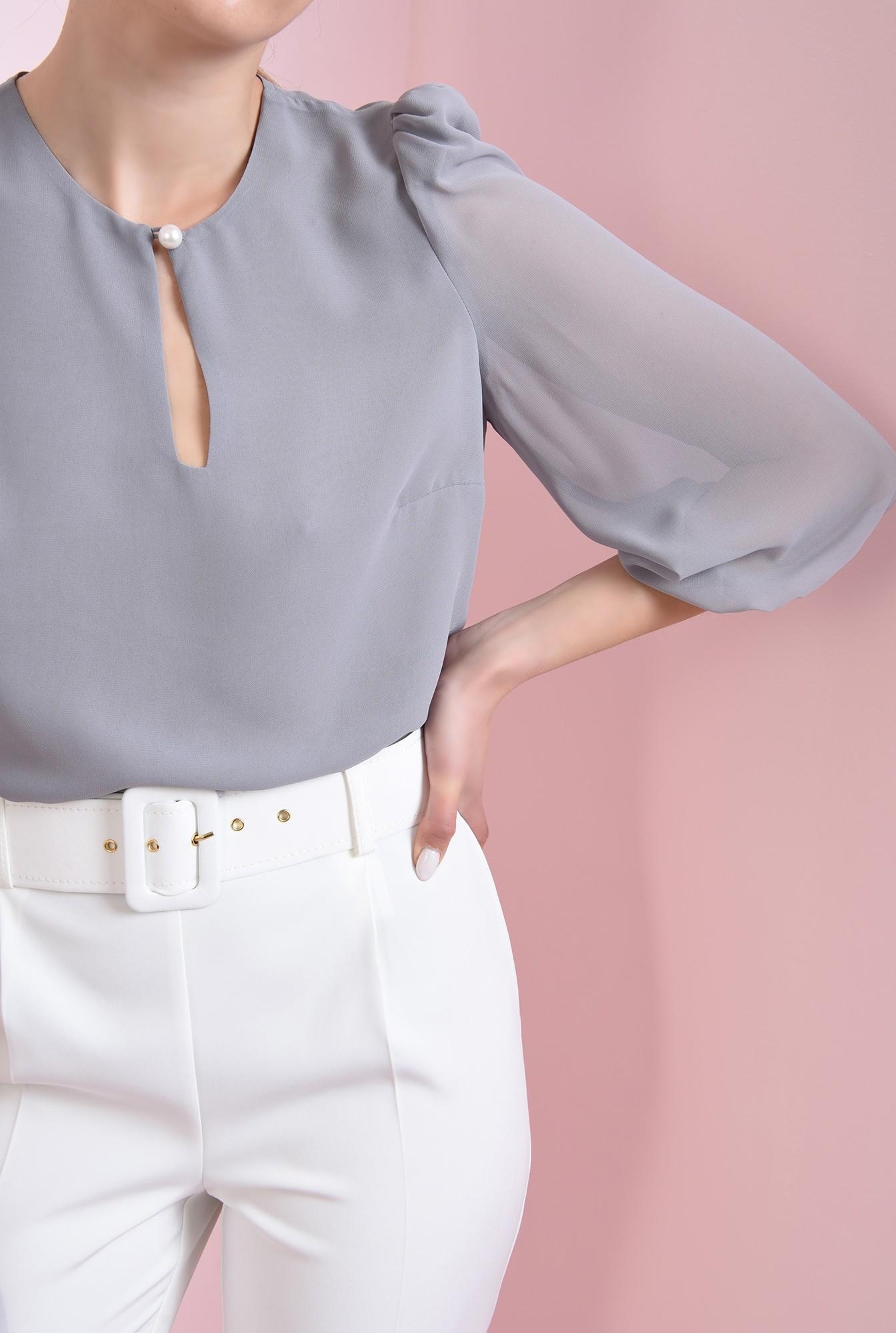 0 - 360 - bluza casual, gri, cu nasture