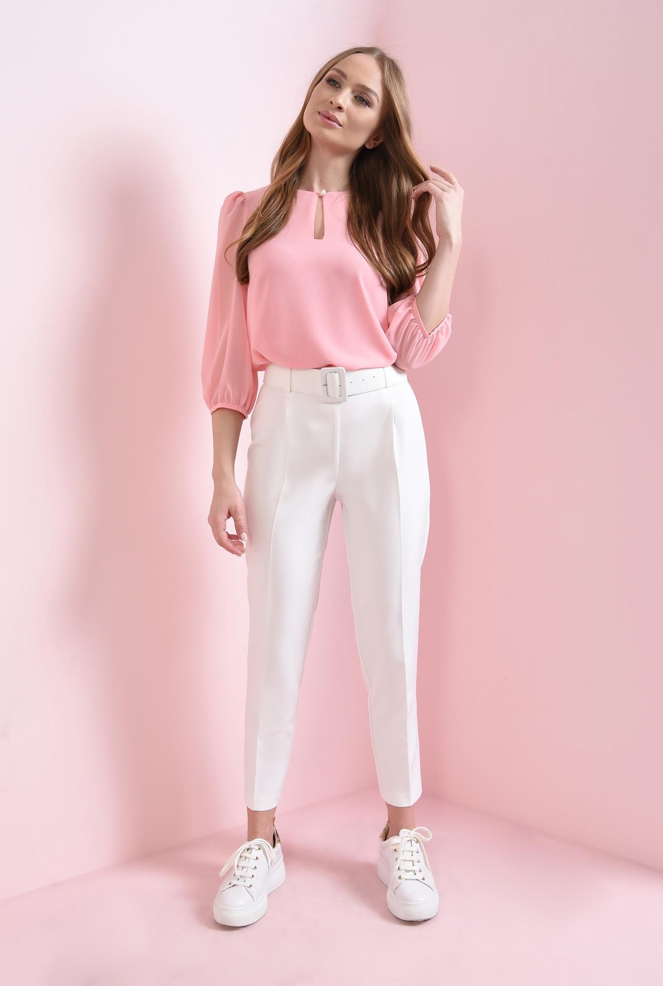 0 - bluza casual, roz, cu nasture