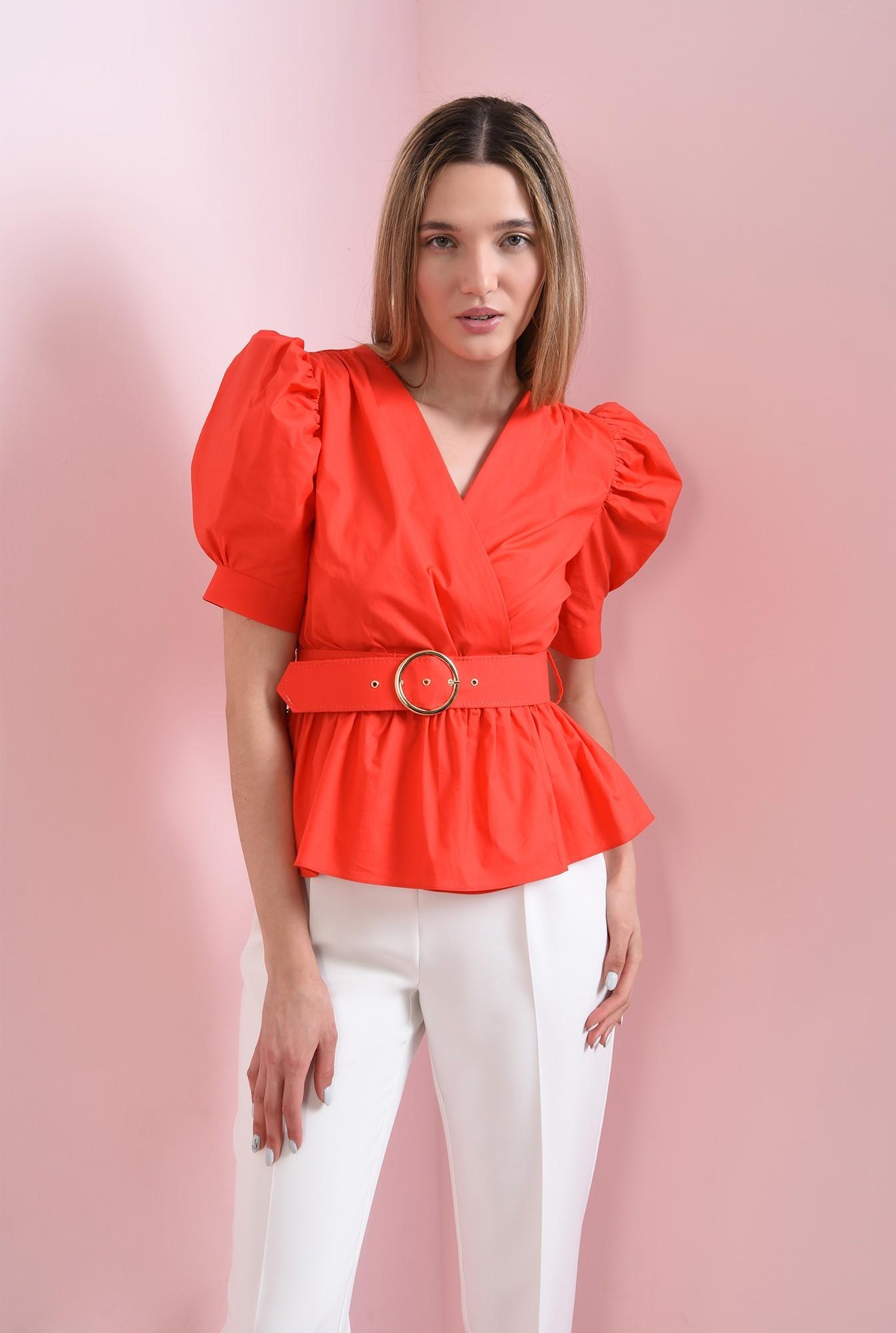 1 - bluza din bumbac, rosie, cu centura
