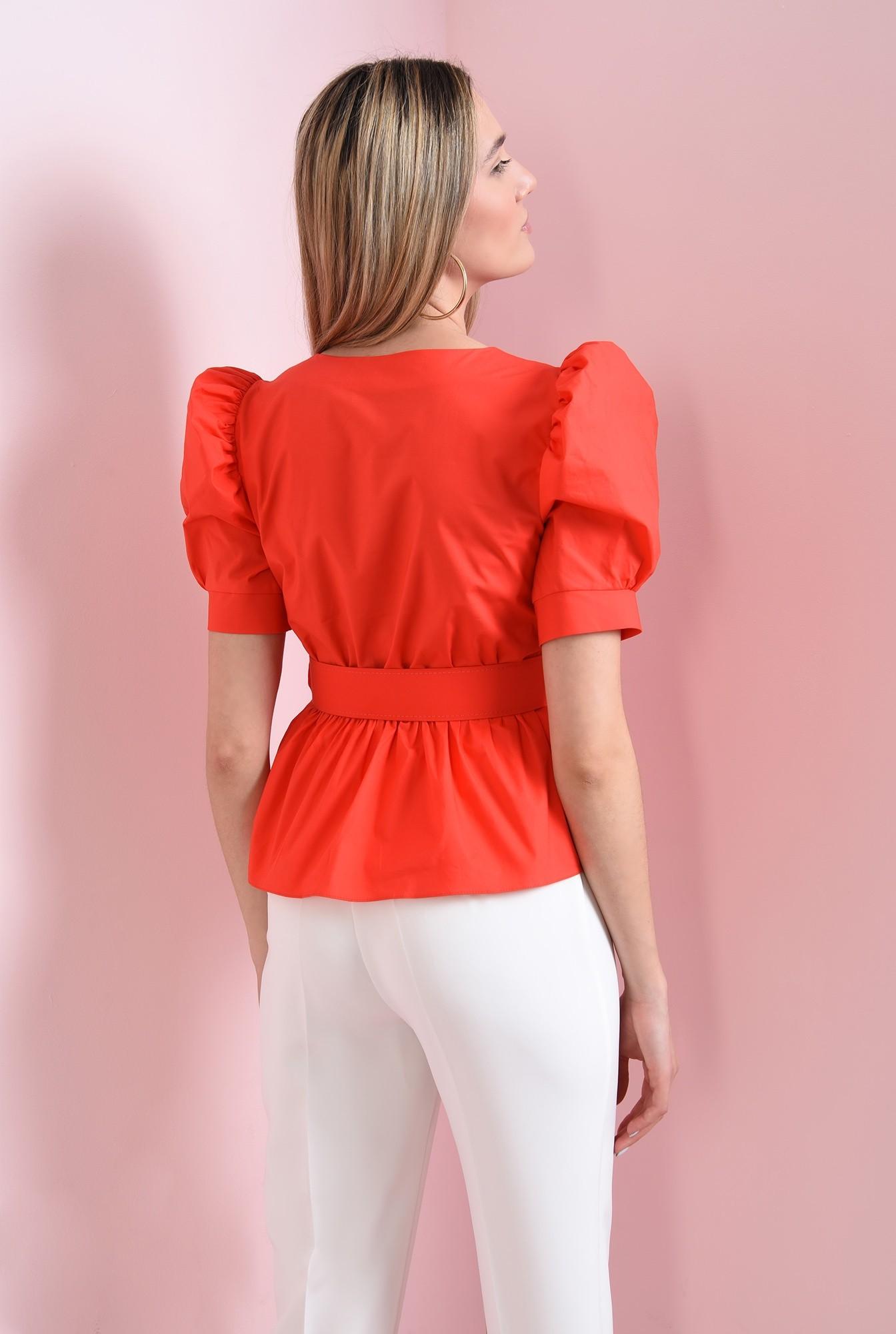 2 - bluza din bumbac, rosie, cu centura