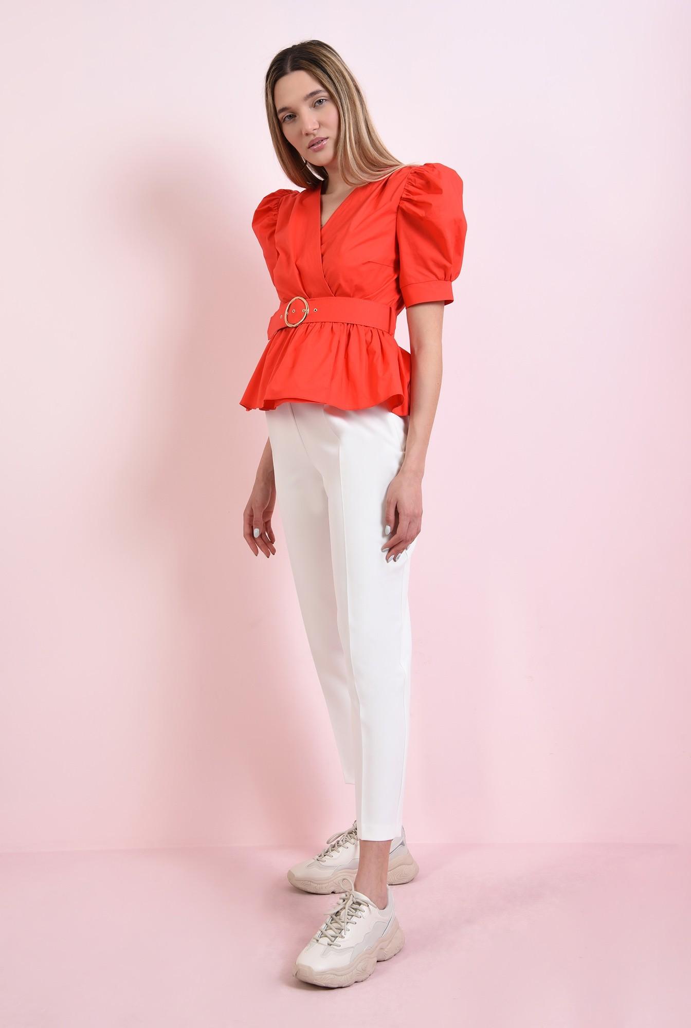 0 - bluza din bumbac, rosie, cu centura