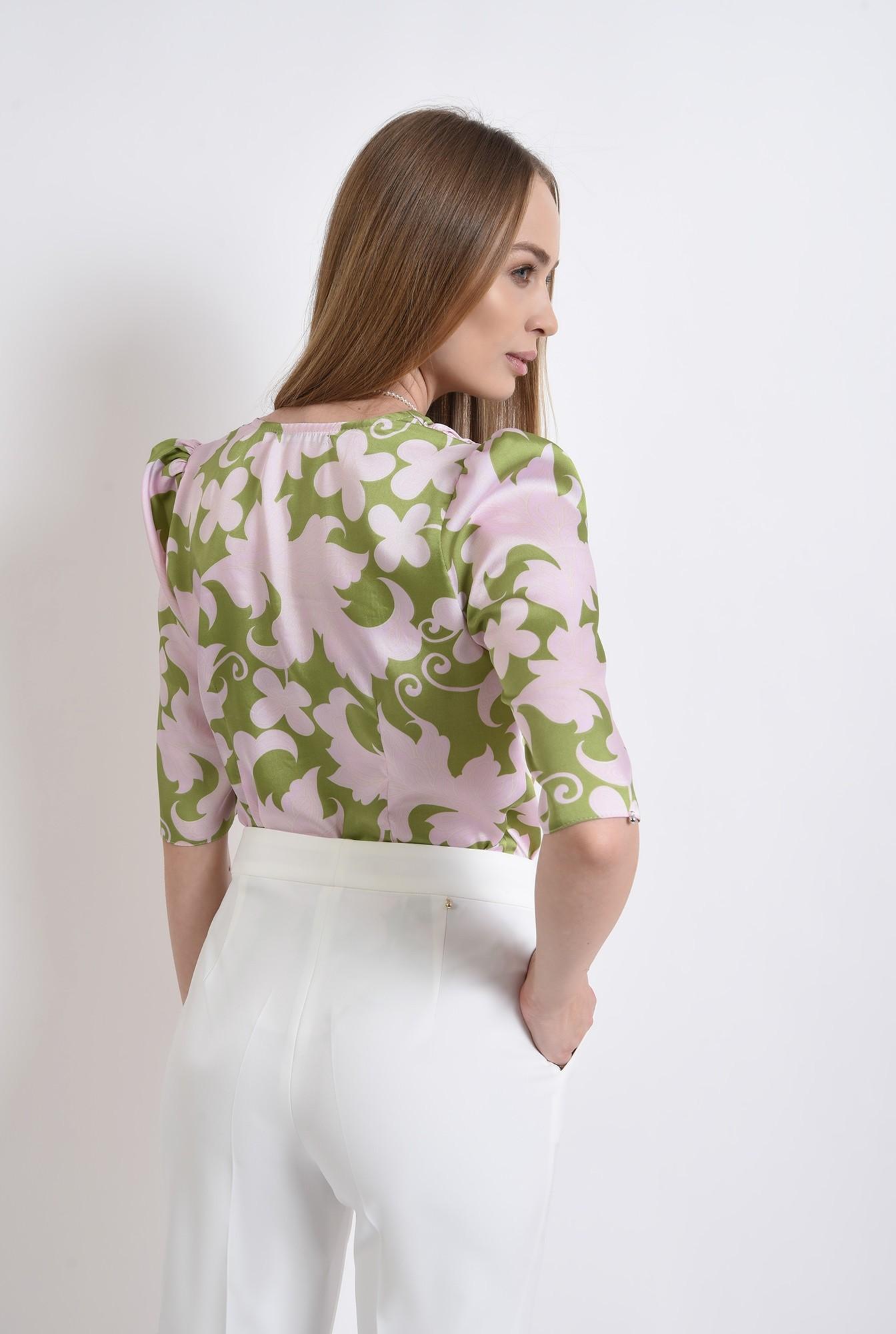 2 - bluza din satin, cu motive florale