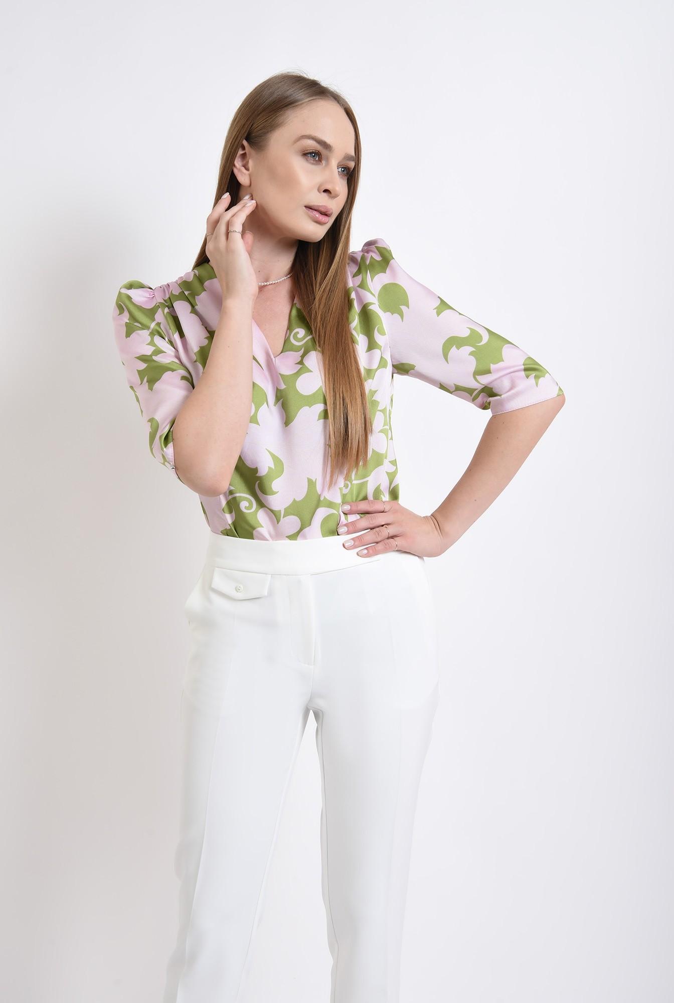 0 - bluza din satin, cu motive florale
