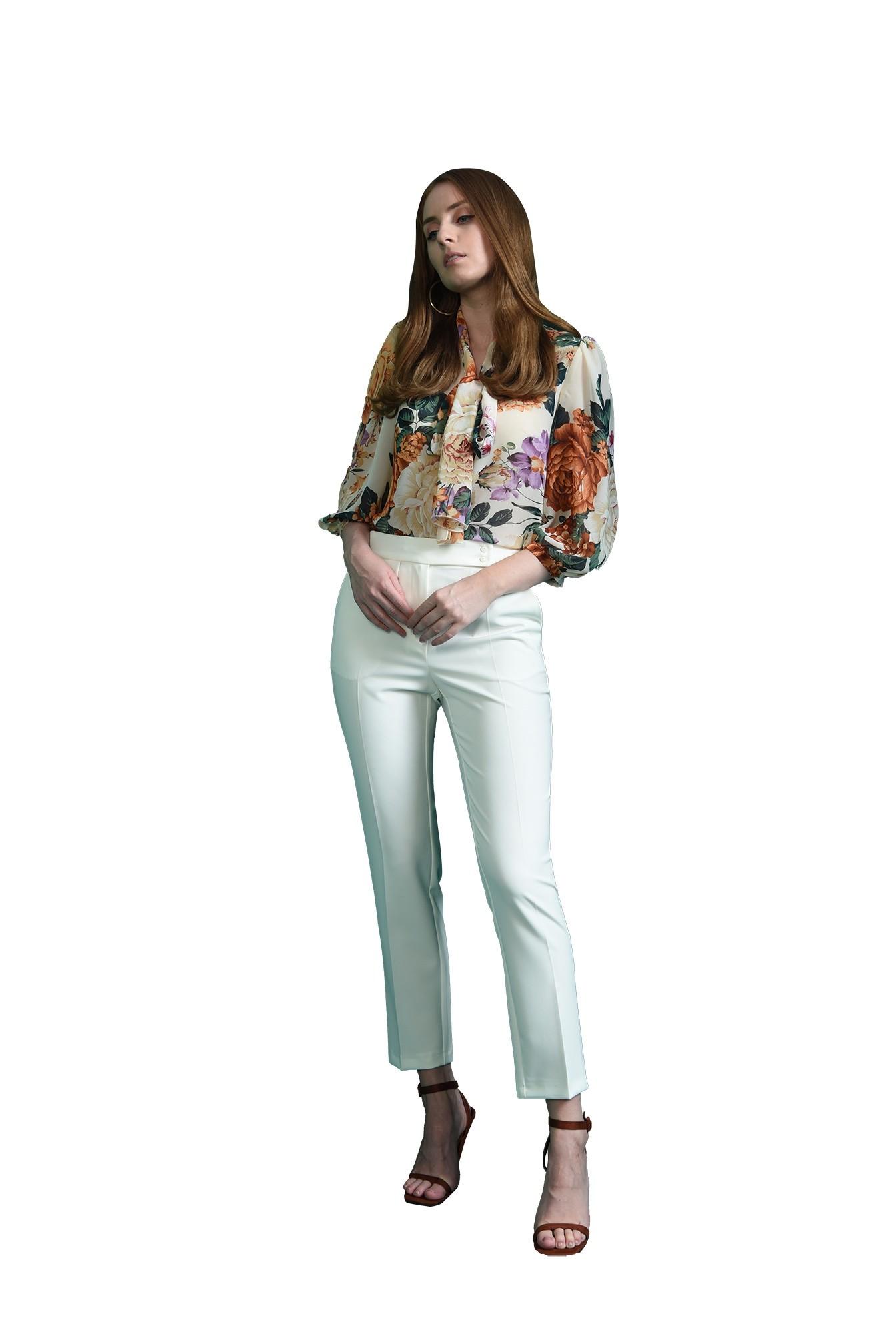 3 - bluza albal, cu esarfa, cu print