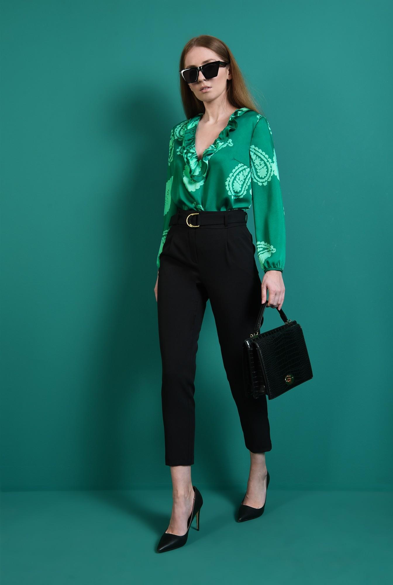 1 - bluza verde, casual, cu volan, Poema