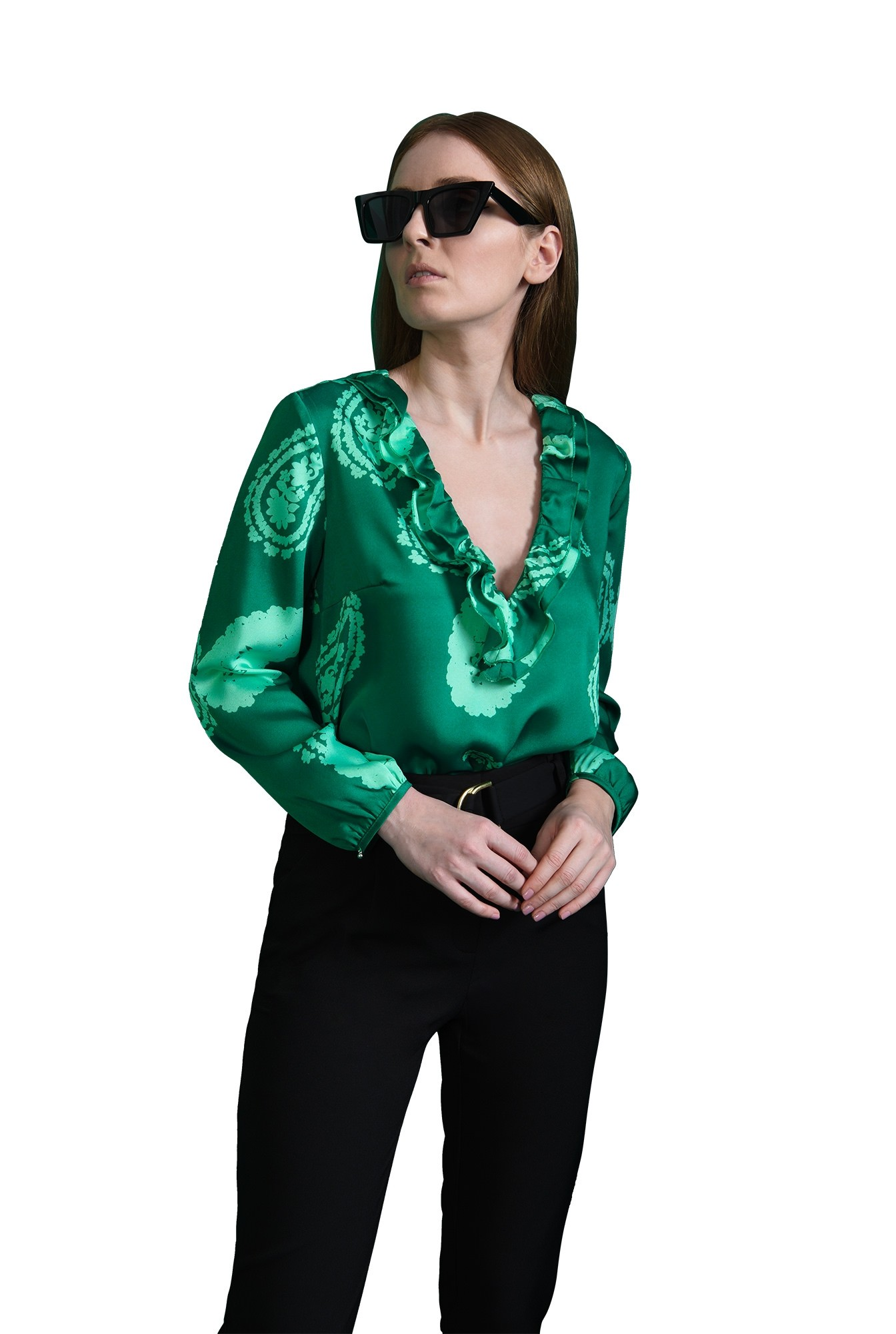 3 - bluza verde, casual, cu volan, Poema