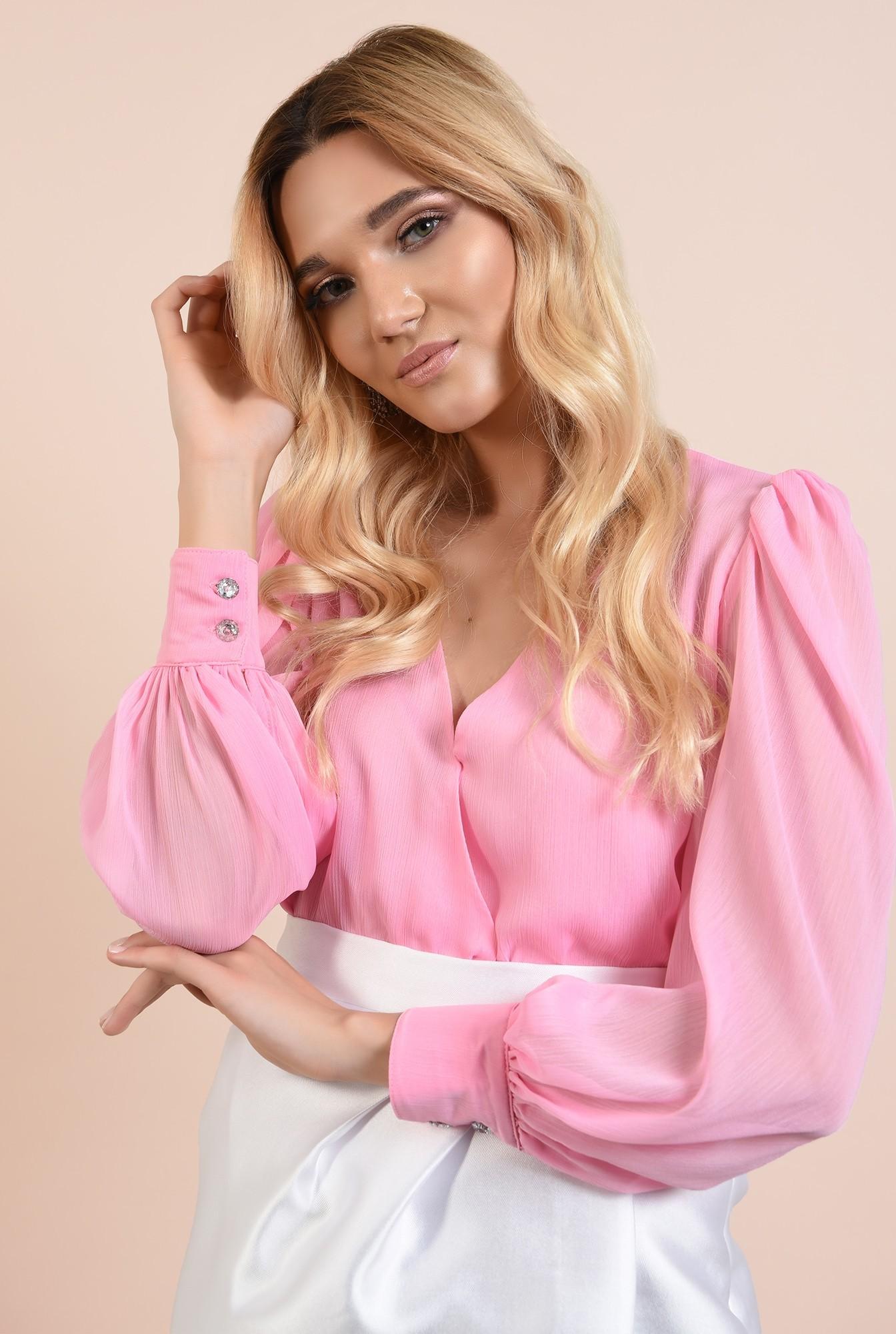 2 - bluza roz, de seara, maneci drapate, decolteu in V, Poema