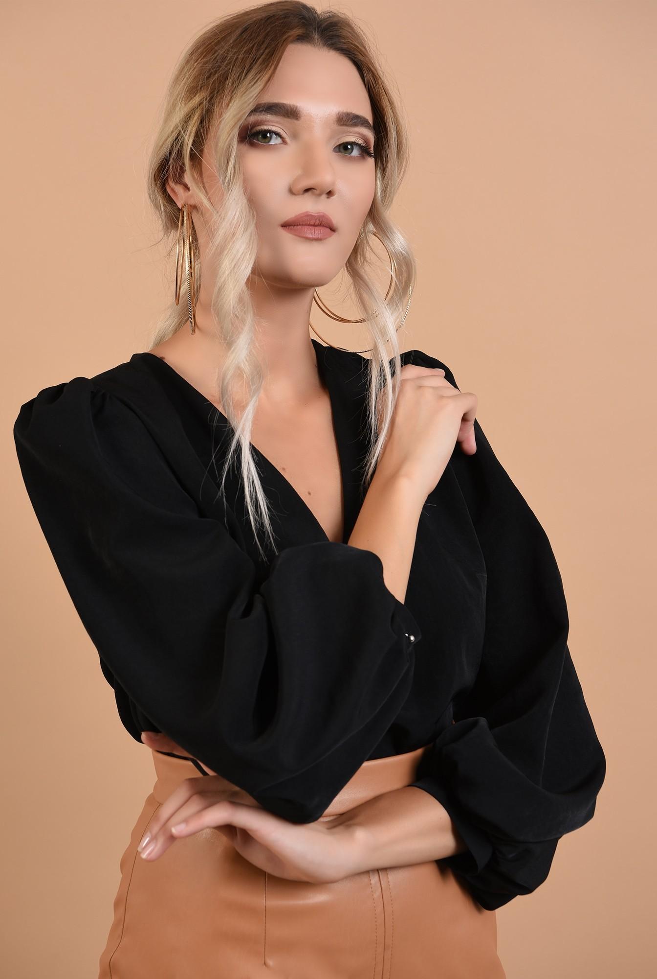 2 - bluza casual, neagra, cu decolteu in V, Poema