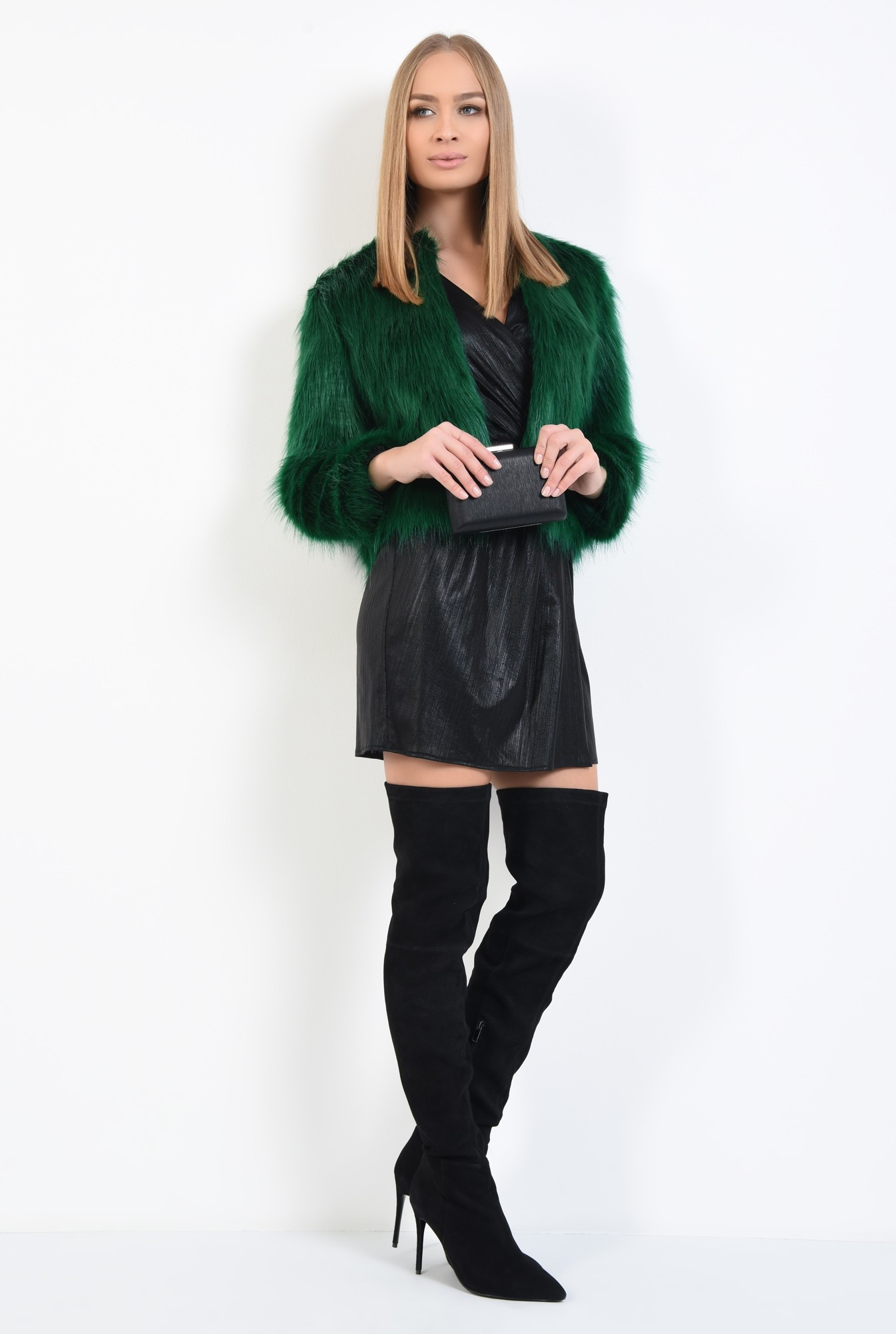 0 - jacheta verde, blana artificiala, maneci lungi