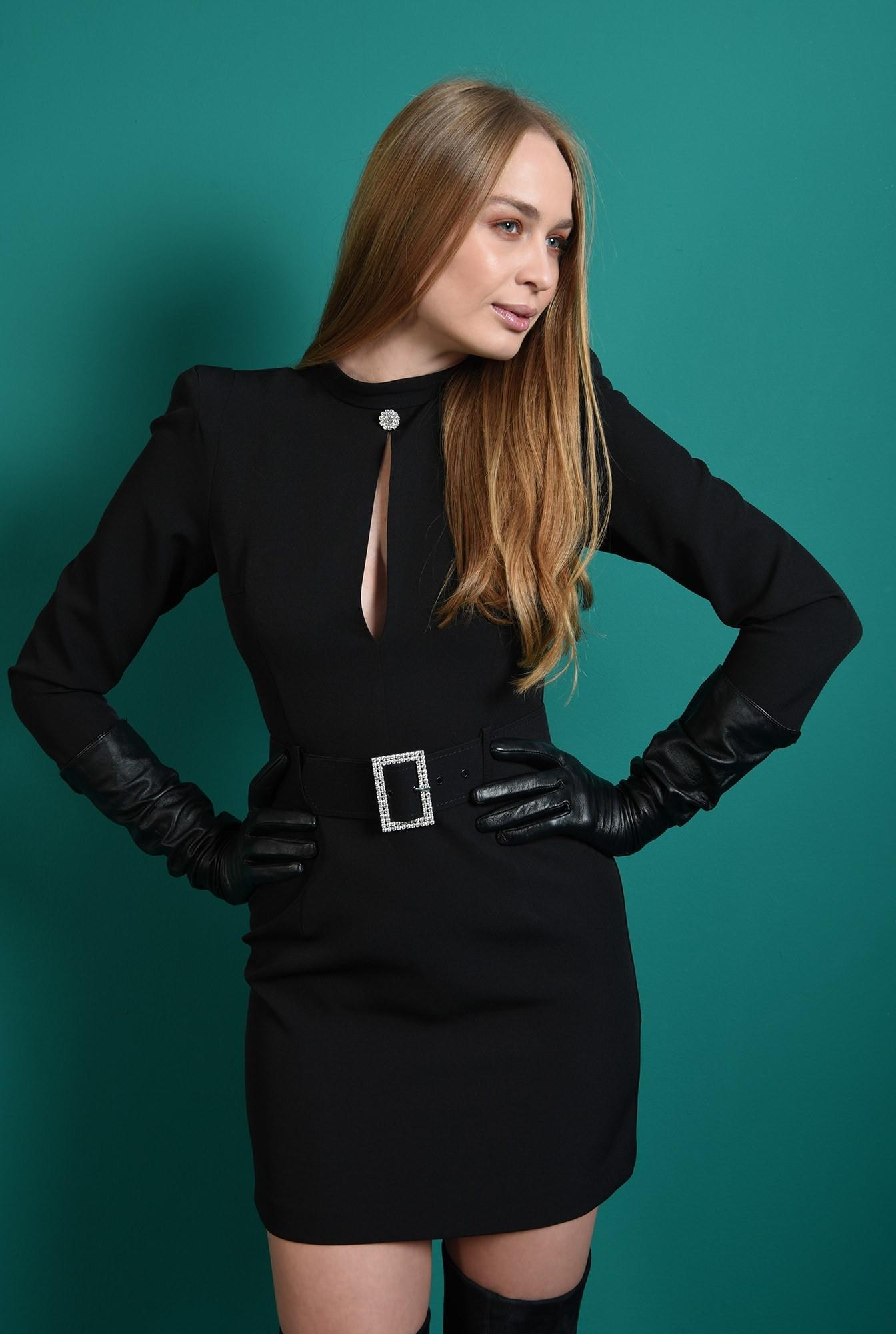 0 - rochie eleganta, neagra, cu centura din strasuri