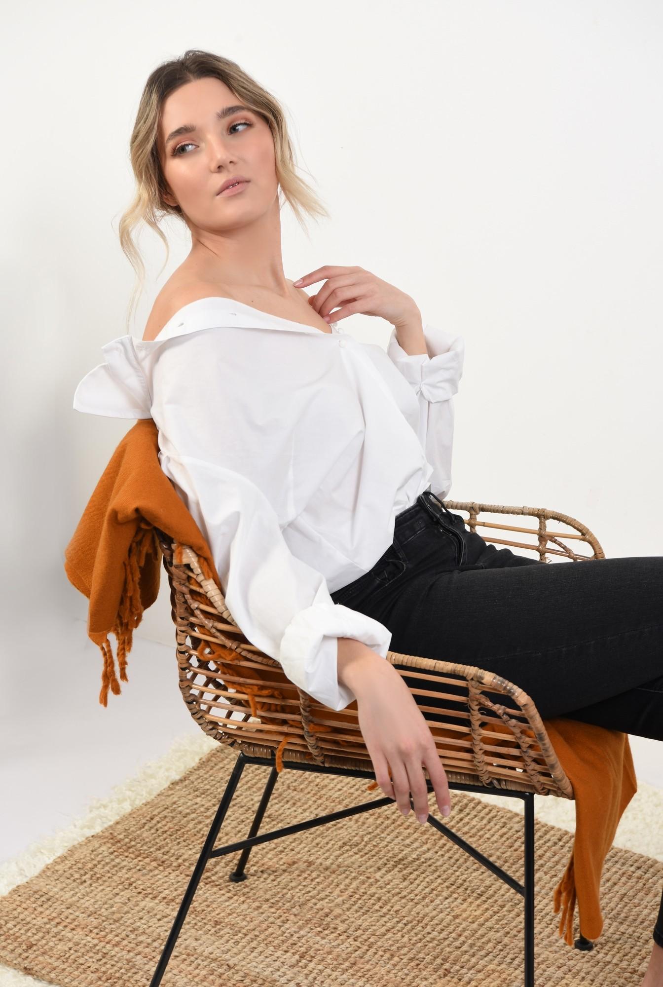 0 -  bluza eleganta, cu maneci bufante, cu funde, organza, bluza de ocazie