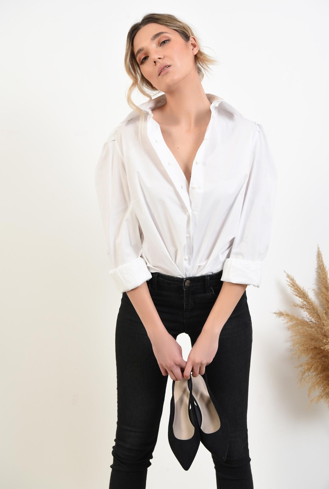 3 -  bluza eleganta, cu maneci bufante, cu funde, organza, bluza de ocazie