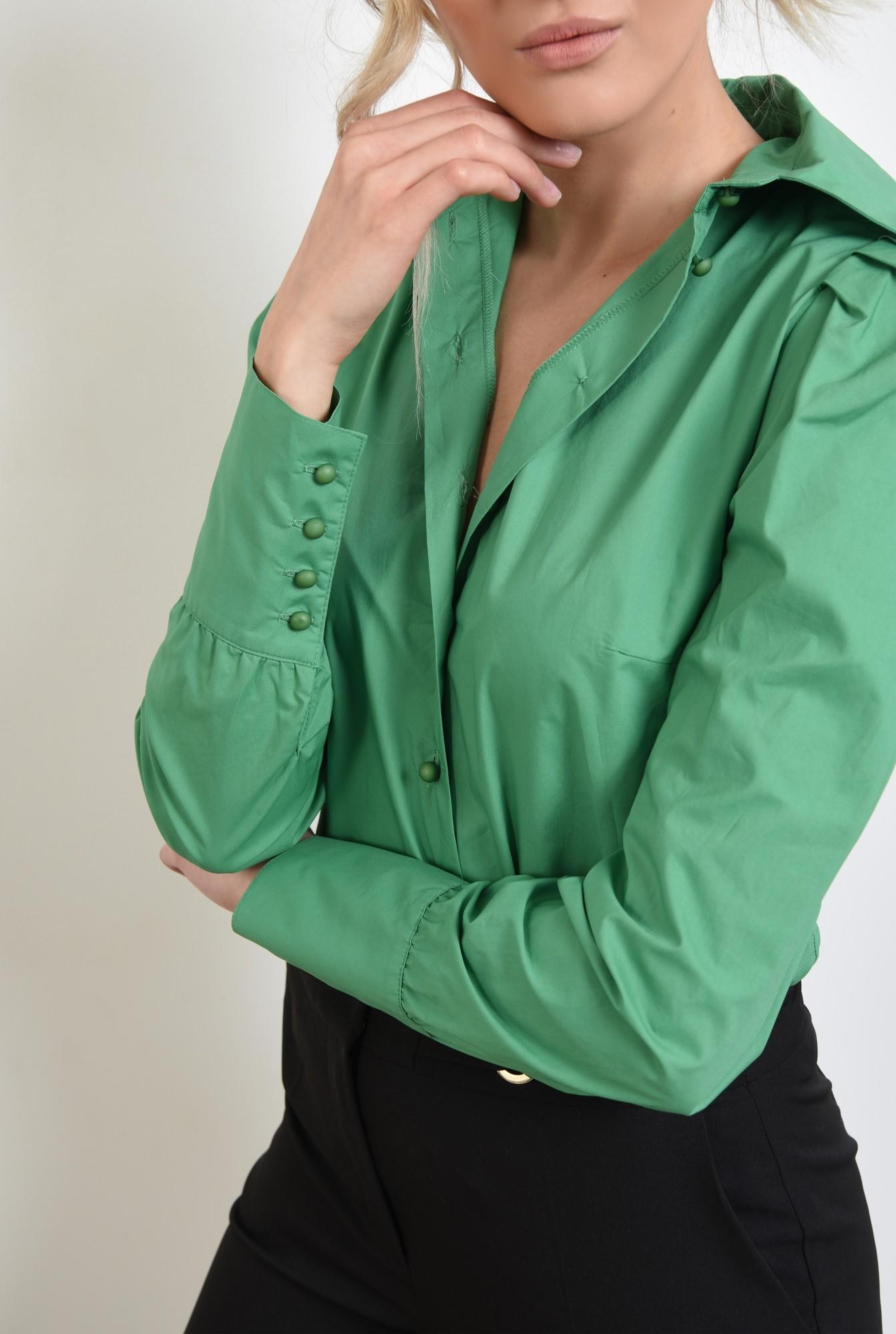 2 -  camasa verde, casual, cu pliuri decorative, nasturi perla
